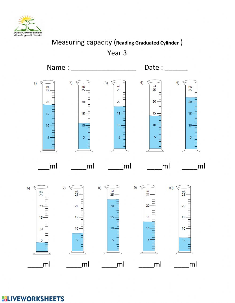 Capacity Maths Worksheets Measuring Capacity Ml Interactive Worksheet