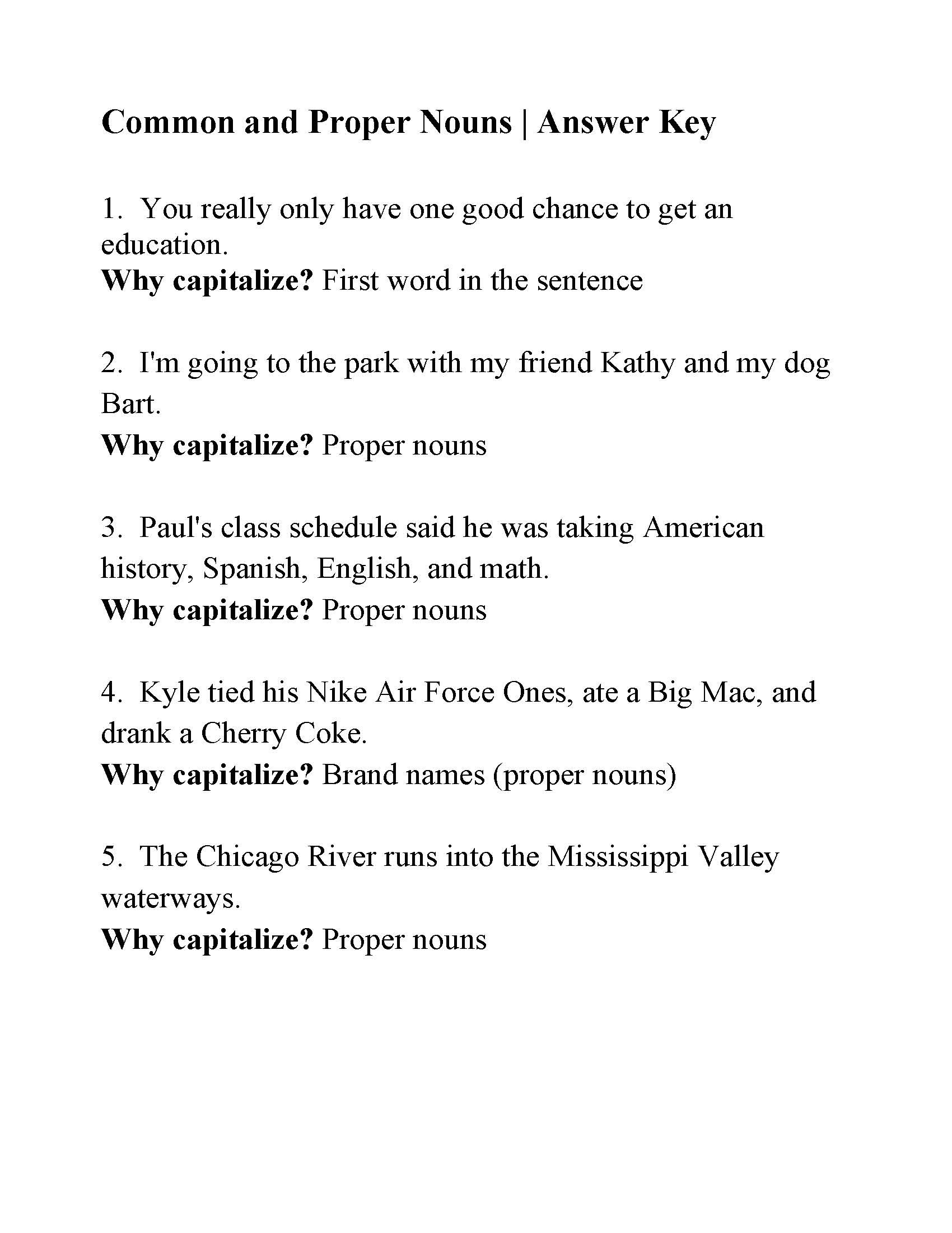 Capitalization Worksheet Middle School Mon and Proper Nouns Capitalization Worksheet Answers
