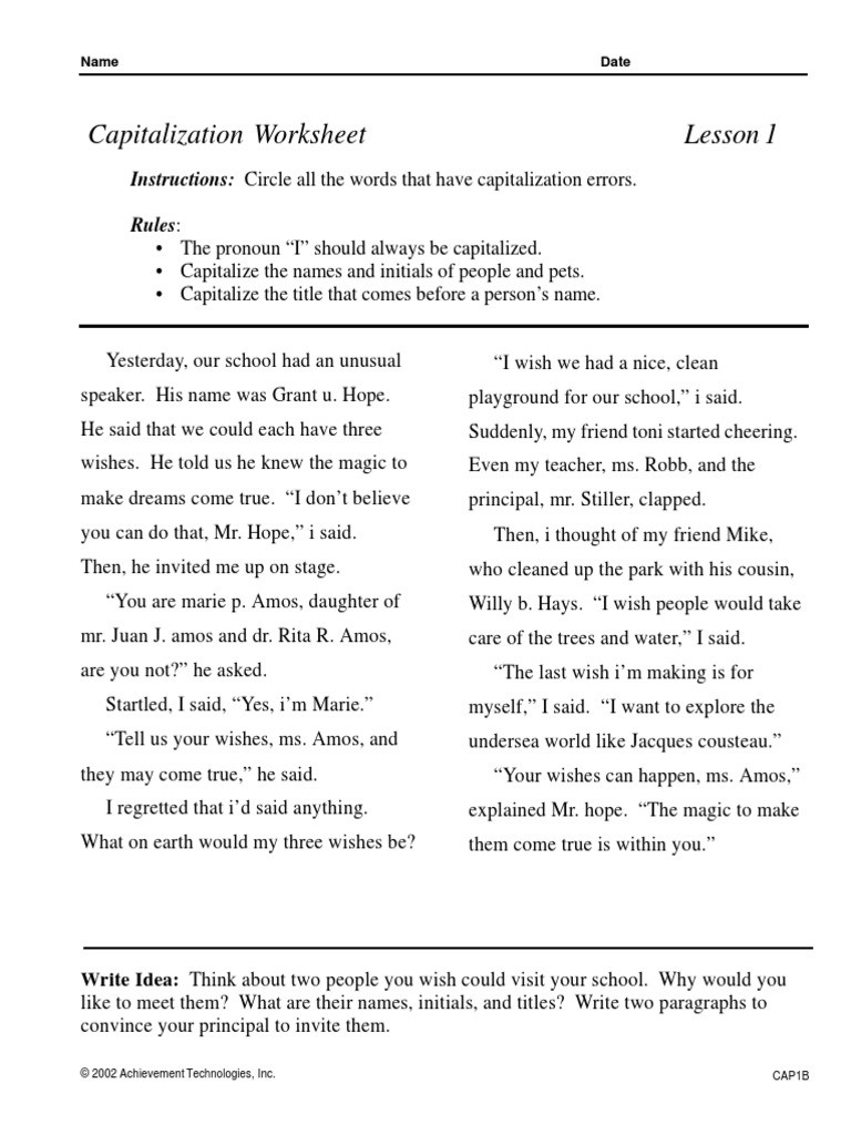 Capitalization Worksheet Middle School Punctuation S Ma