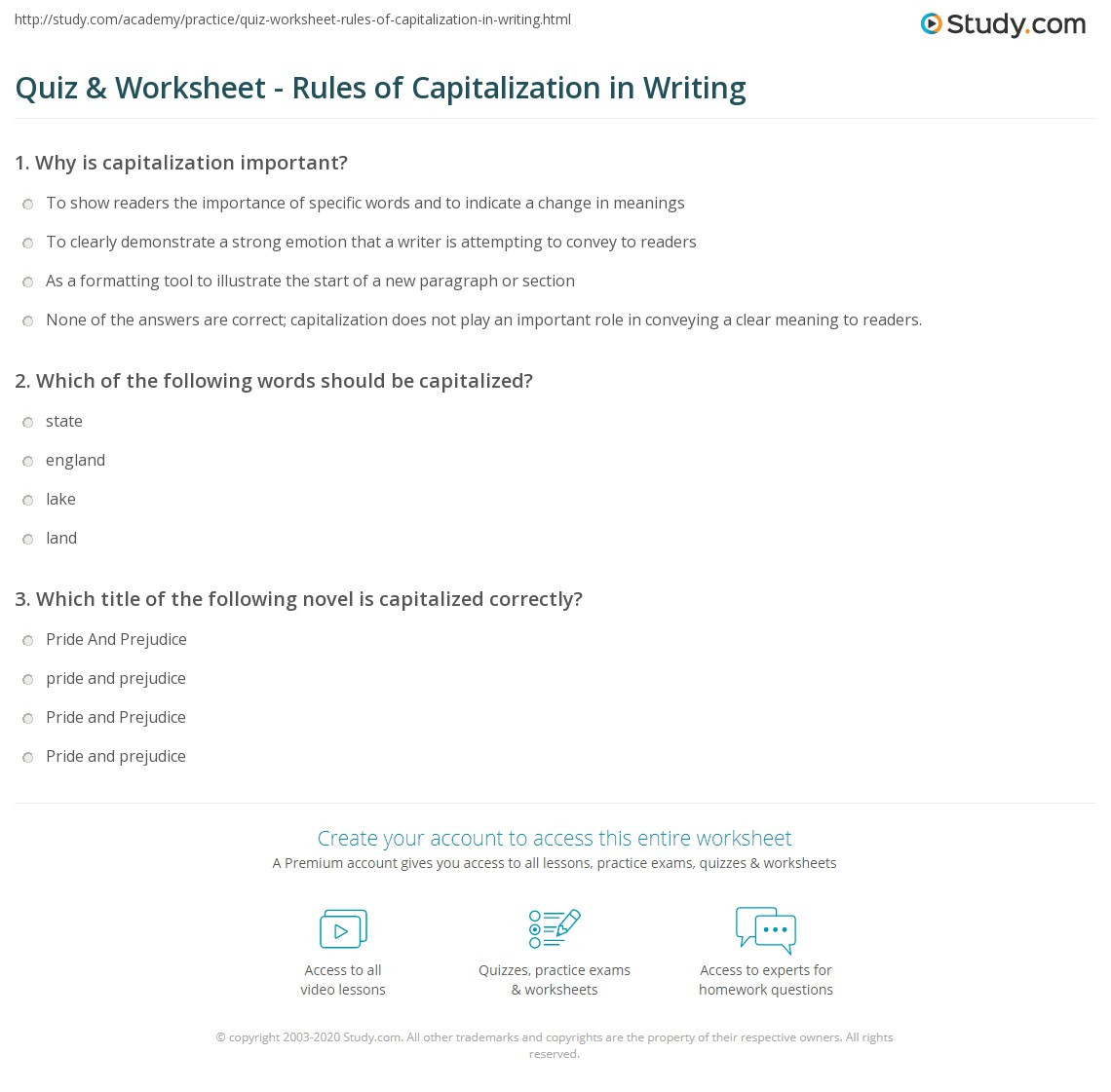 Capitalization Worksheet Middle School Quiz & Worksheet Rules Of Capitalization In Writing