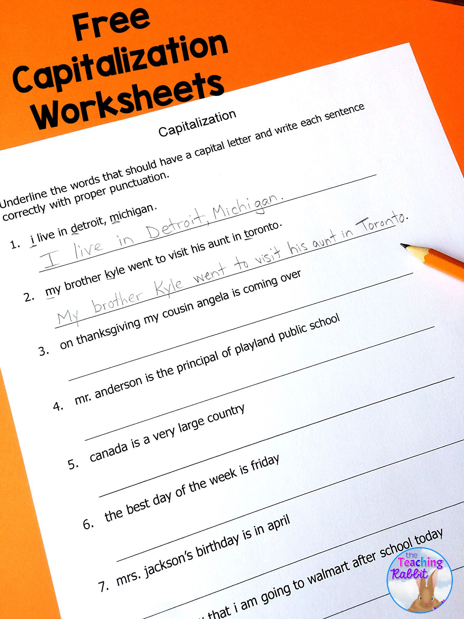 Capitalization Worksheets for 2nd Grade Capitalization Worksheets