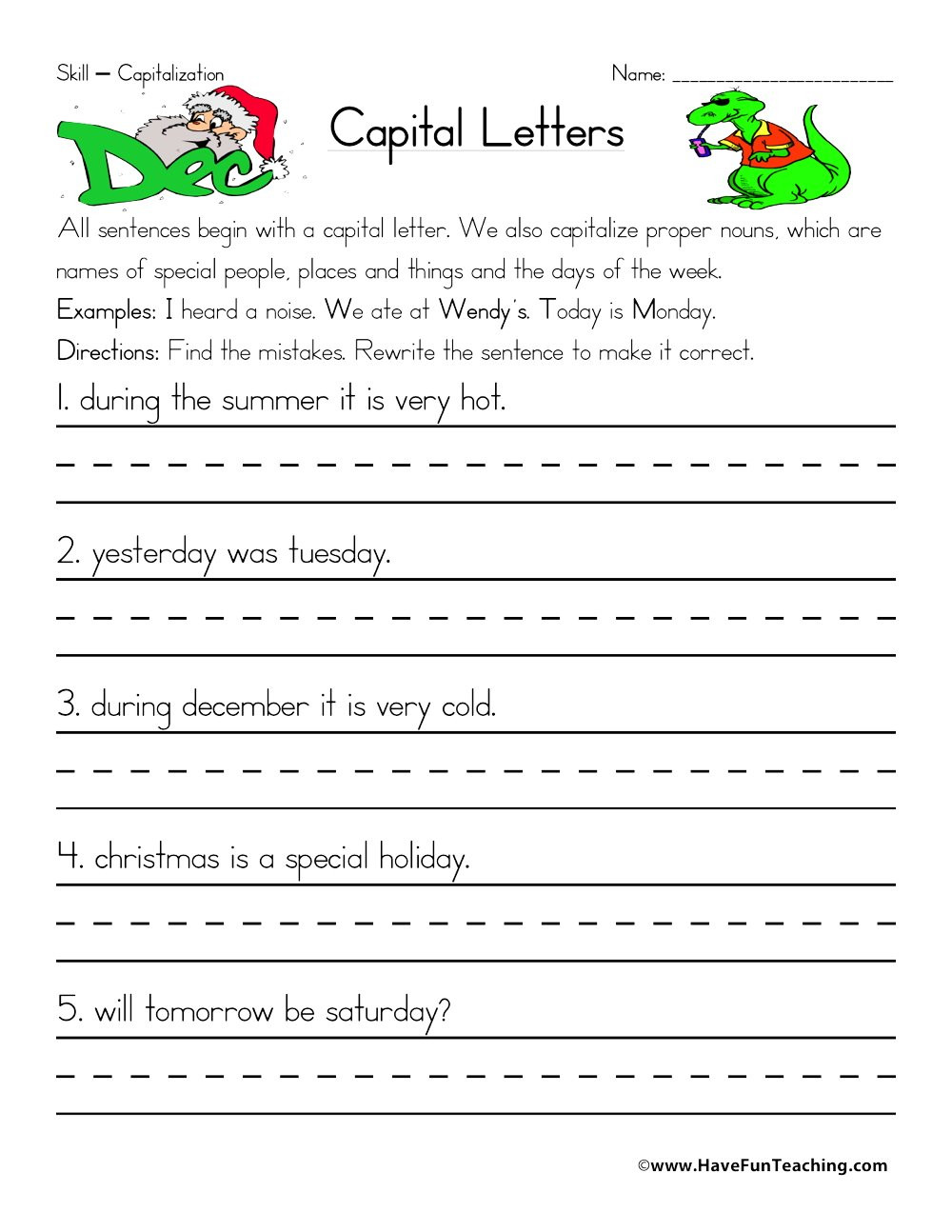 Capitalization Worksheets for 2nd Grade Fixing Capitalization Errors Worksheet