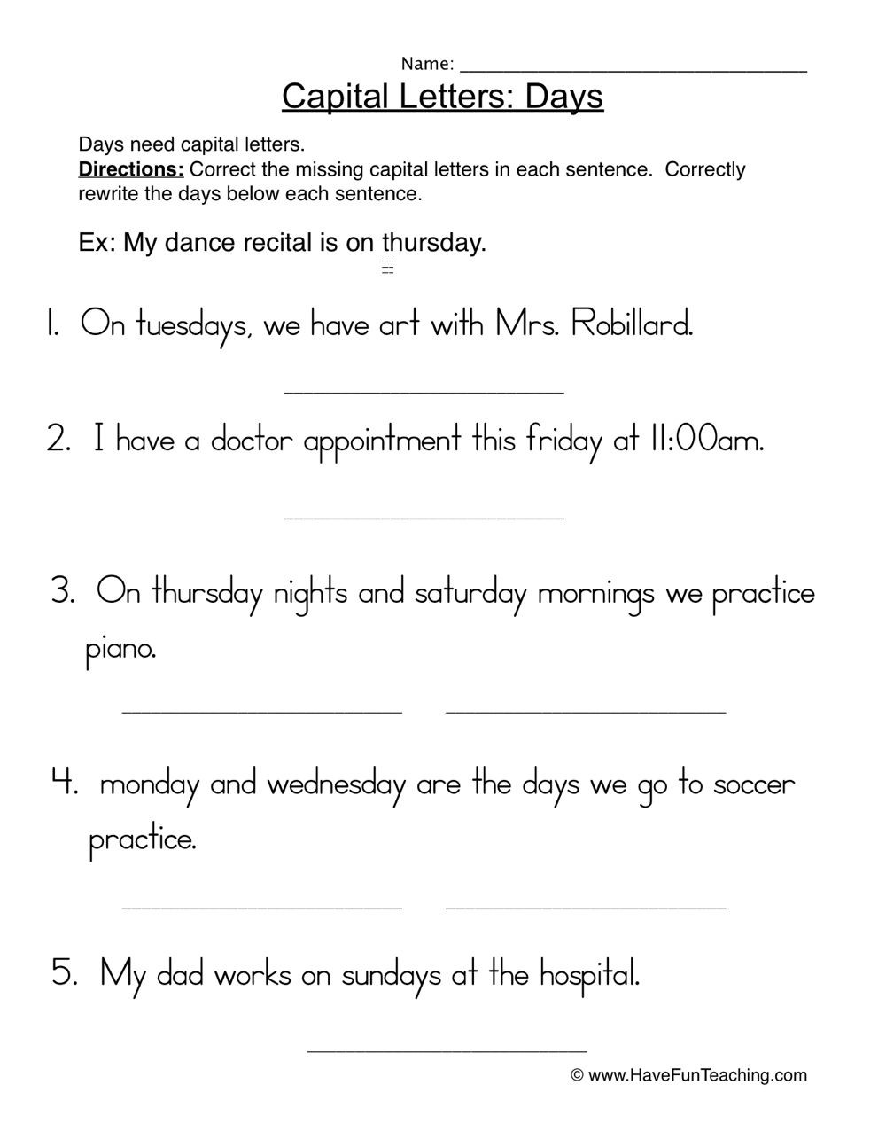 Capitalization Worksheets for 2nd Grade Worksheets