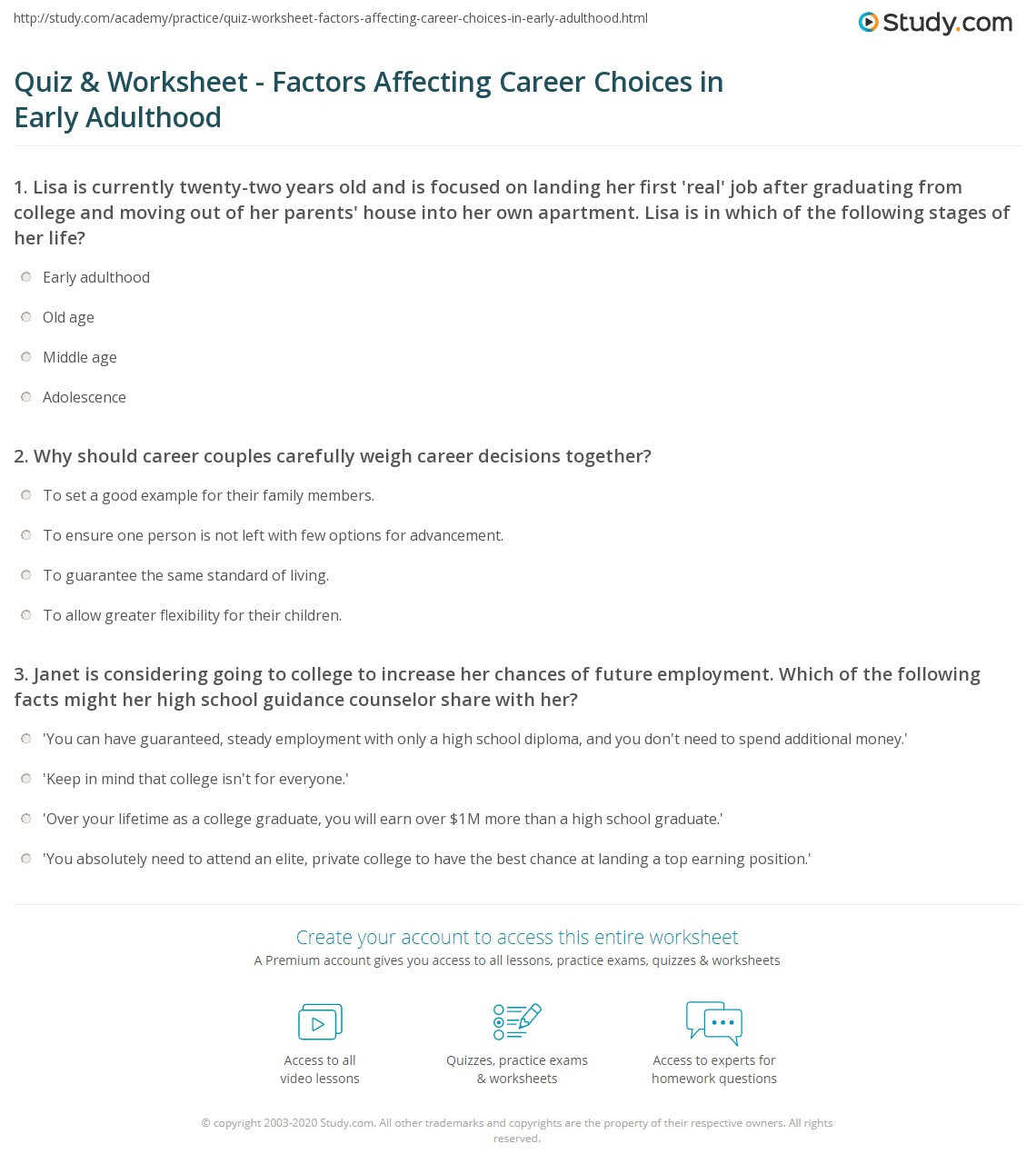 Career Worksheets for Middle School Quiz & Worksheet Factors Affecting Career Choices In Early