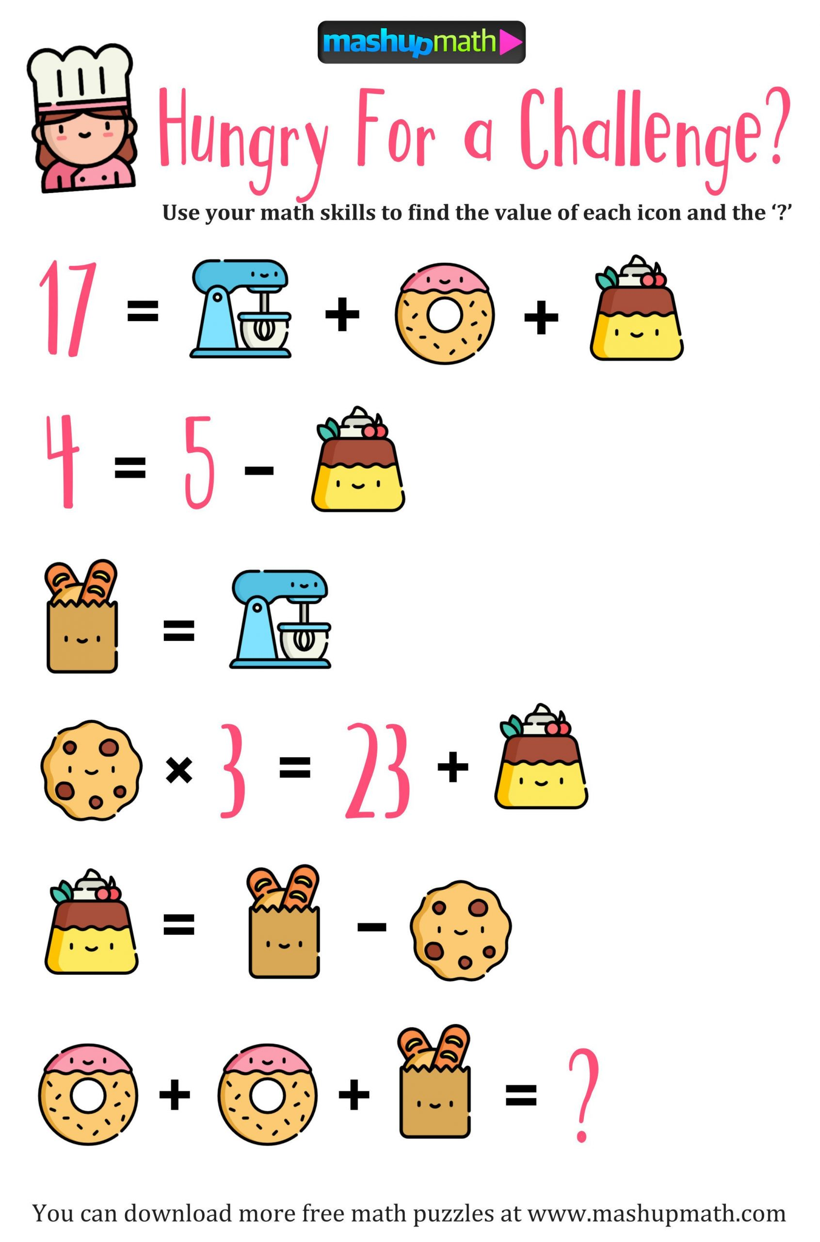 Challenge Math Worksheets 188 Best Algebra Picture Problems Images