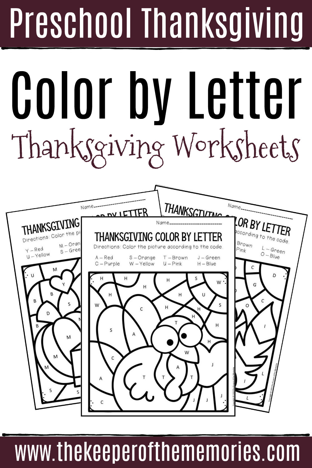 Color Blue Worksheets for Preschool Color by Letter Thanksgiving Preschool Worksheets