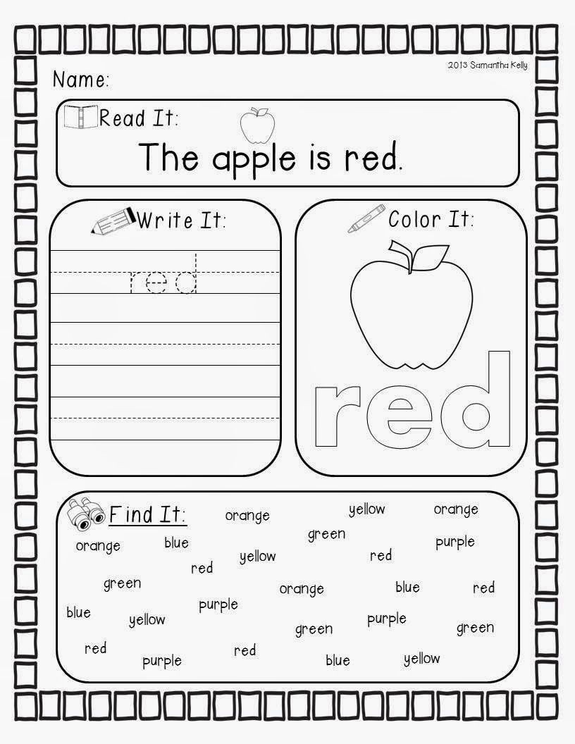 Color Blue Worksheets for Preschool Crazy for Colors