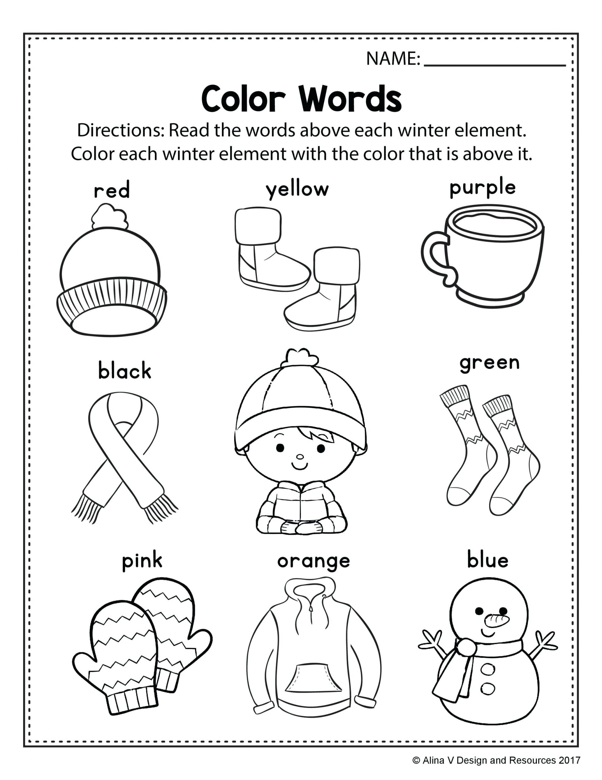 Color Blue Worksheets for Preschool Red Preschool Worksheets