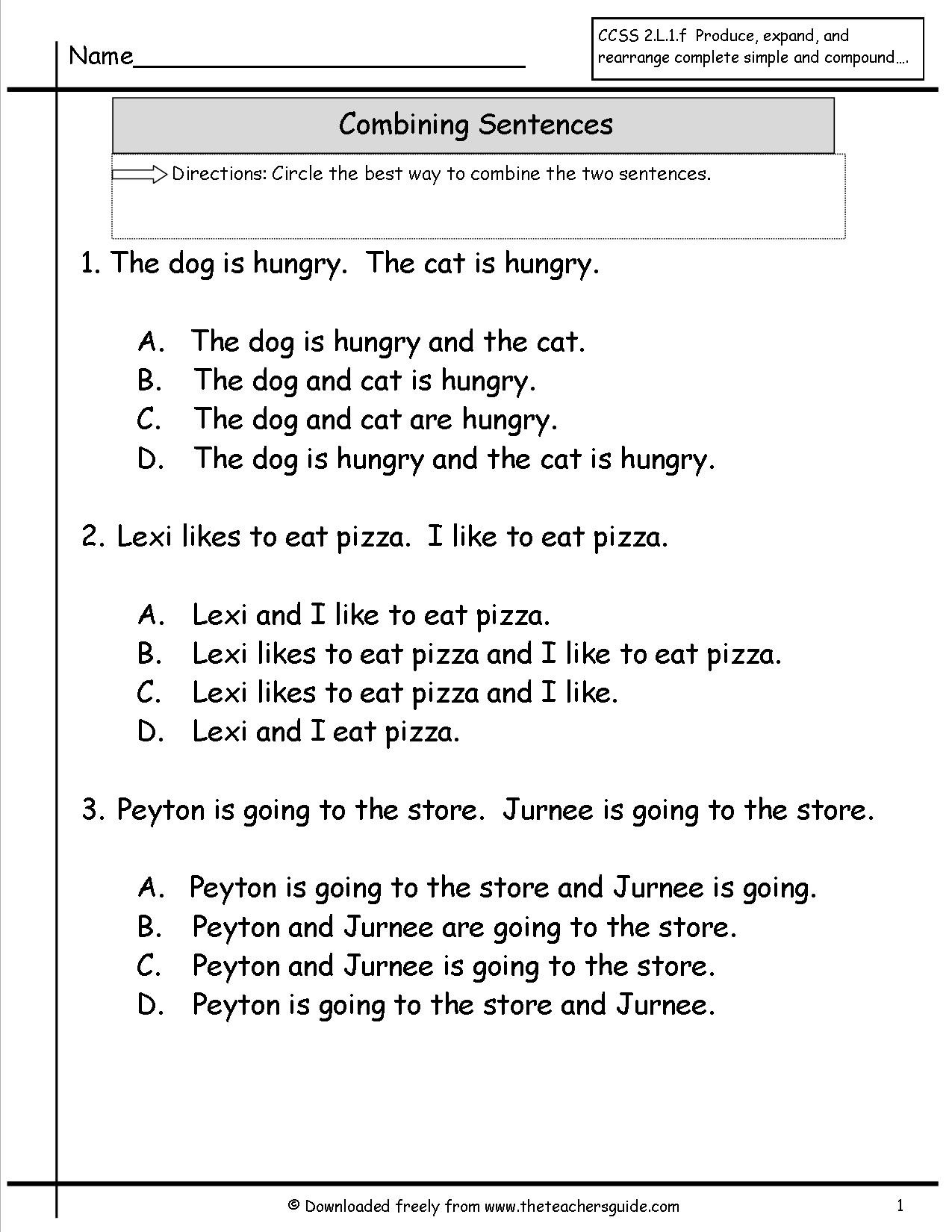Combining Sentences Worksheet 5th Grade Types Sentences Worksheets Grade 1