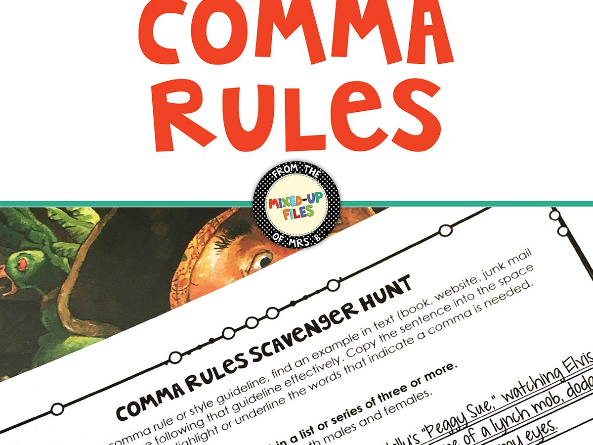 Comma Worksheet Middle School Pdf Ma Rules Scavenger Hunt Activity