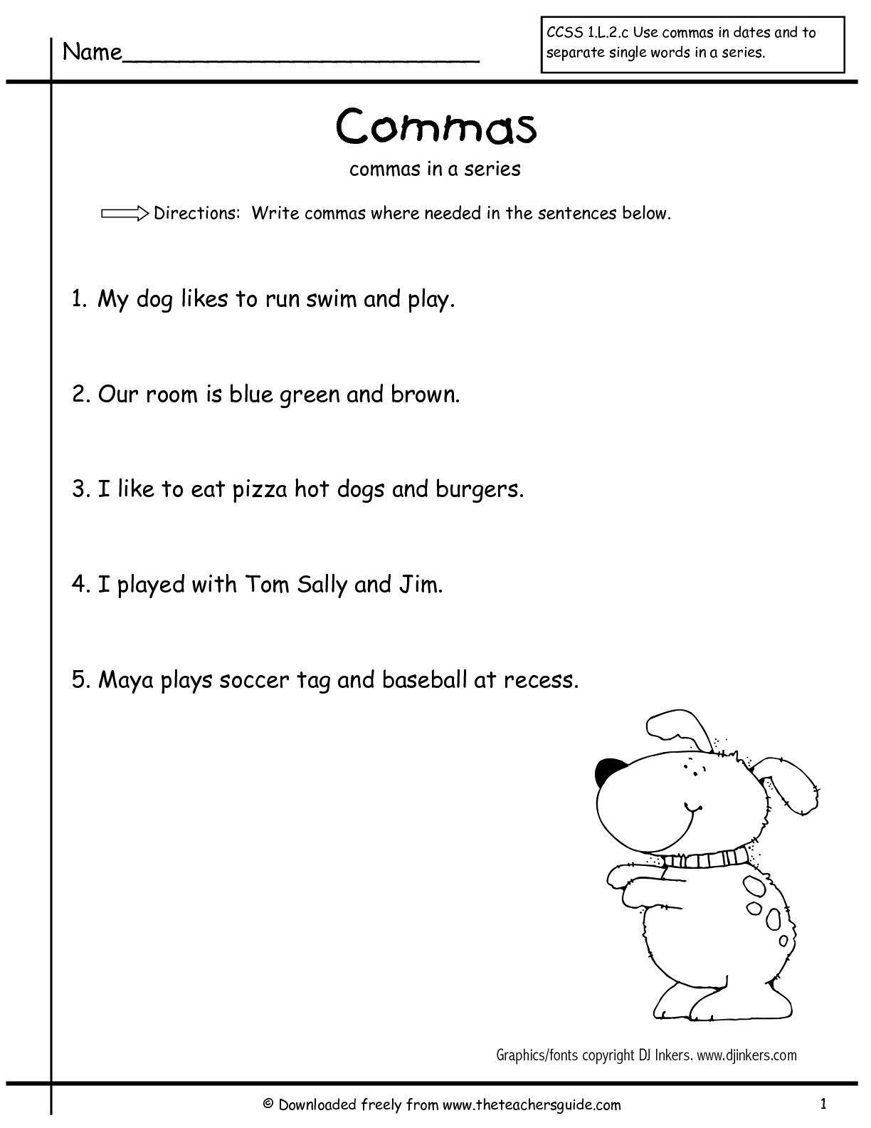 Comma Worksheet Middle School Pdf Mas In A Series