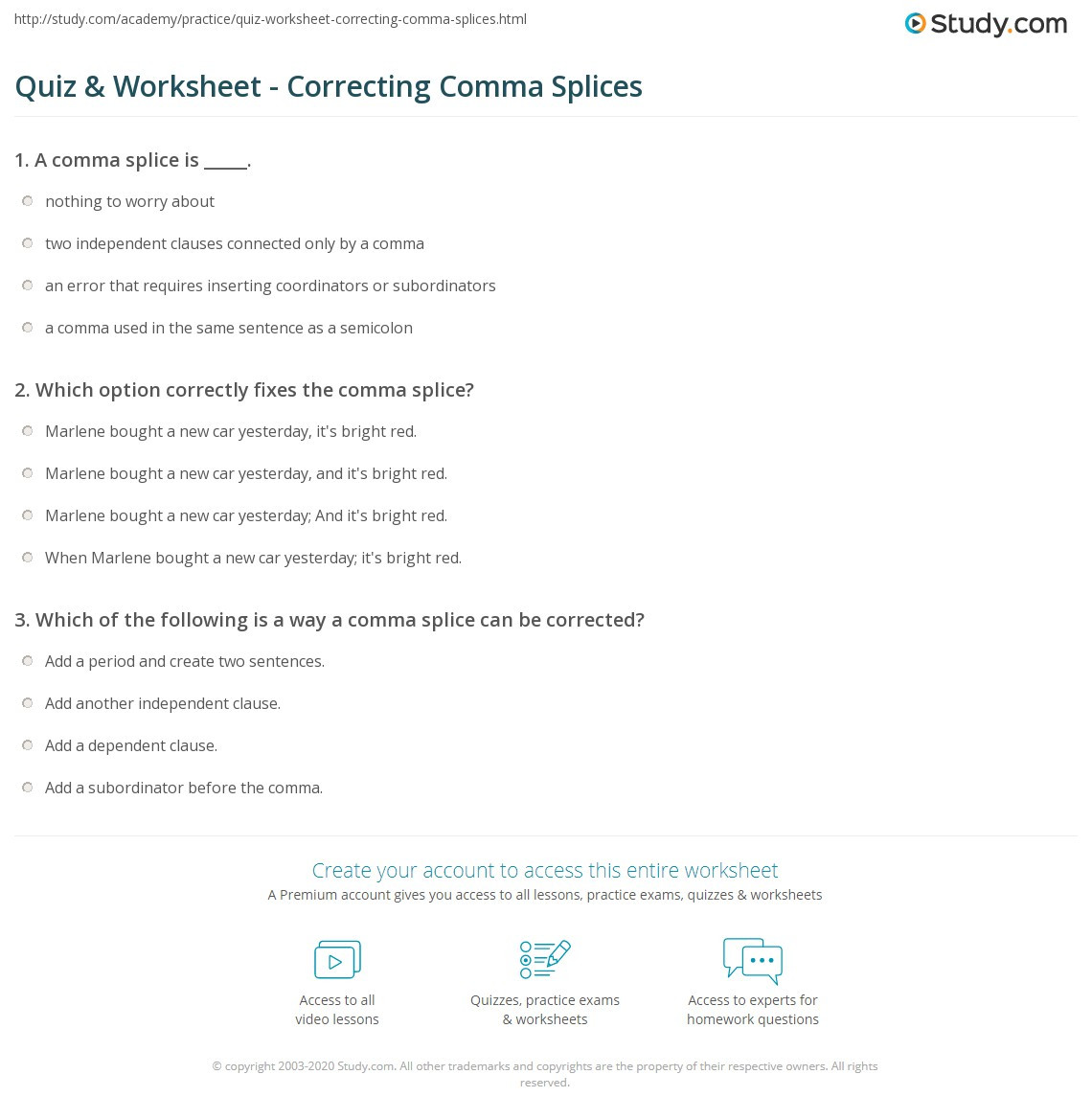 Comma Worksheet Middle School Pdf Quiz & Worksheet Correcting Ma Splices