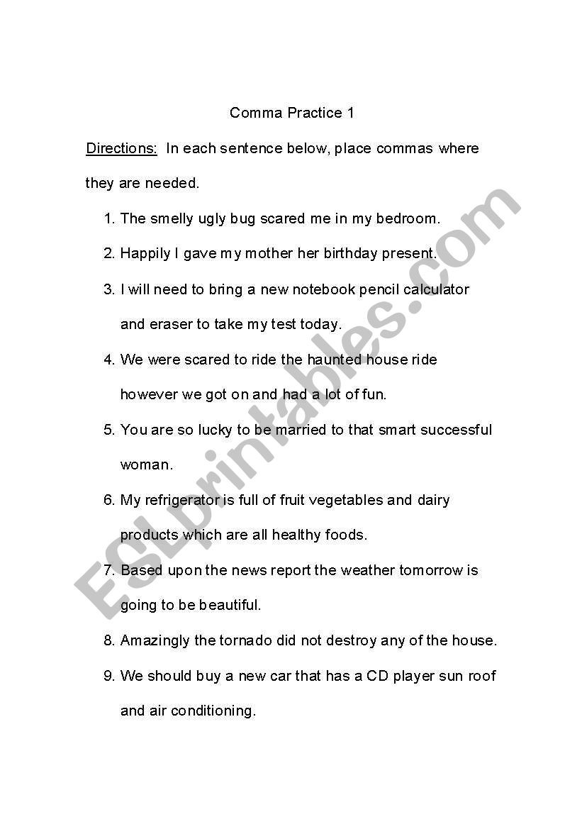 Comma Worksheets High School Pdf Ma Practice Esl Worksheet by Jenzab