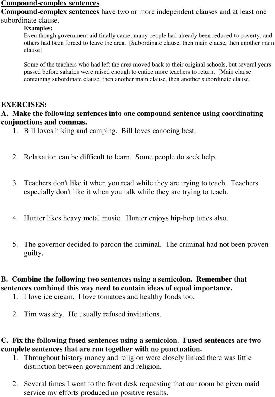Comma Worksheets High School Pdf Sentence Bining Part E Pdf Free Download
