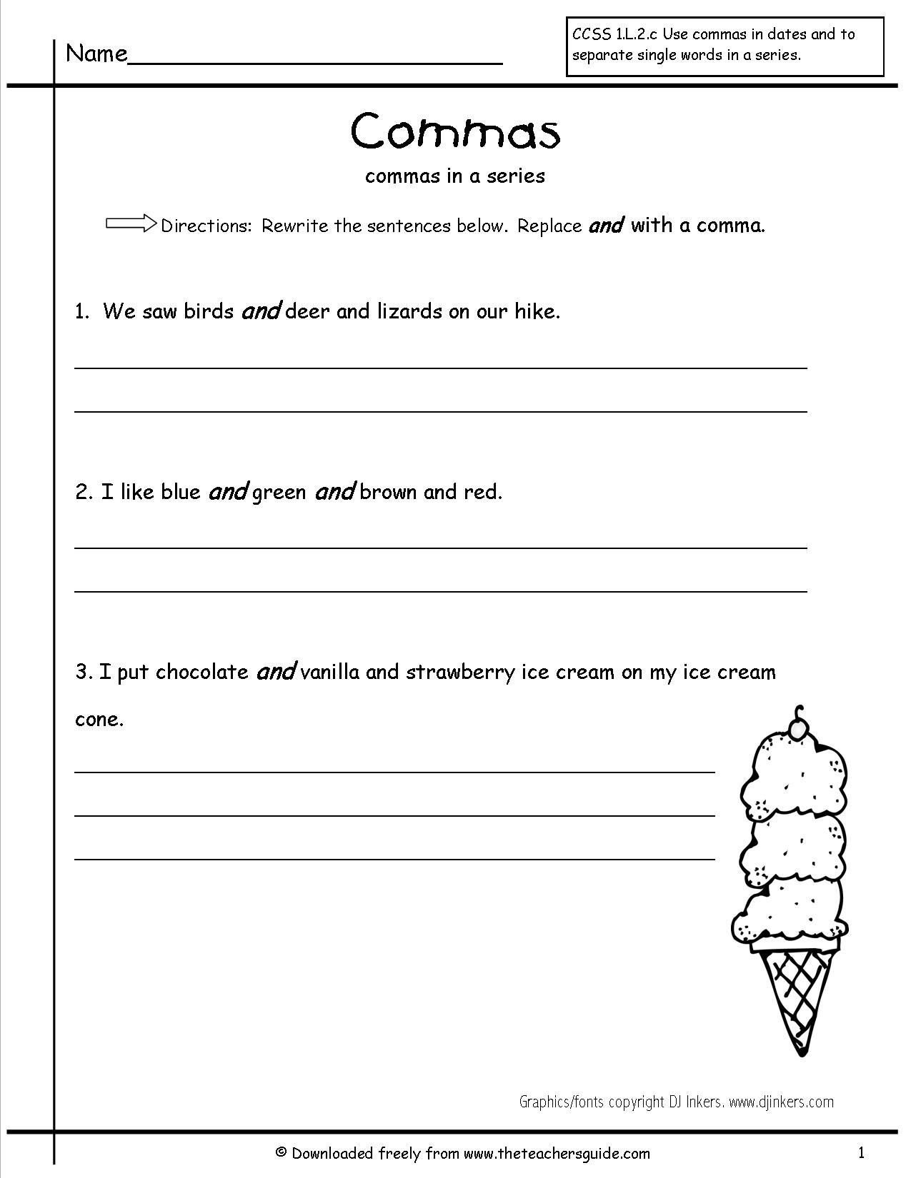 Commas Worksheet 4th Grade Worksheets 4th Grade Terms