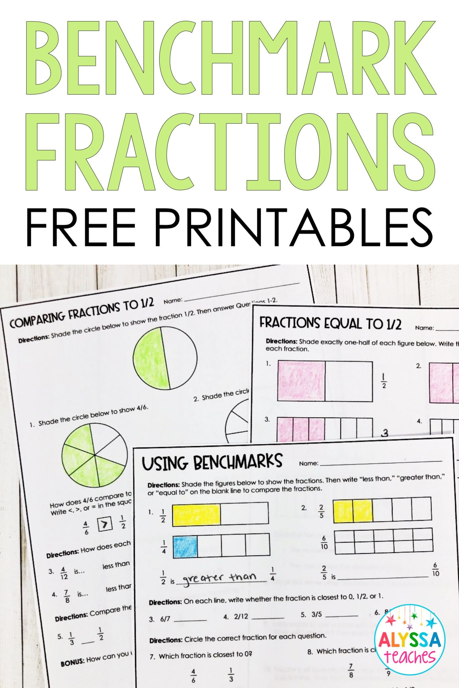 Comparing Fractions Worksheet 4th Grade Benchmarks Fractions Poster and Worksheets