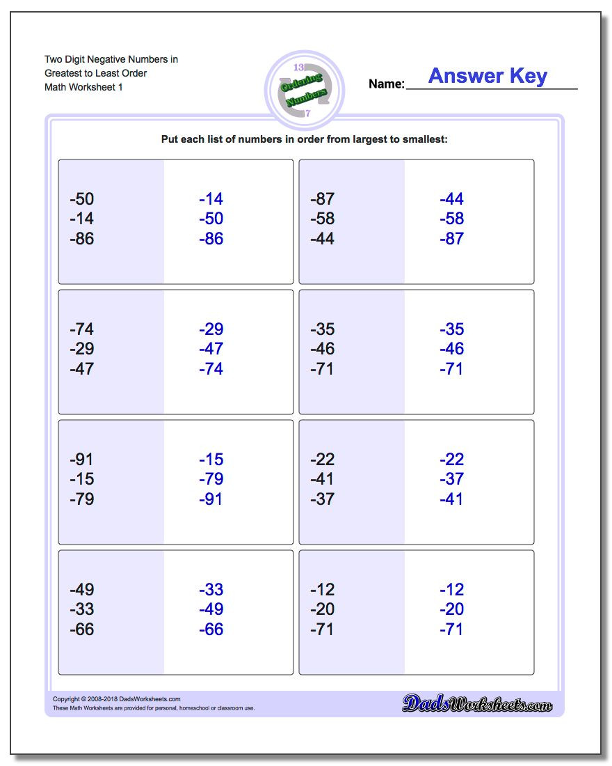 Comparing Numbers Worksheets 2nd Grade ordering Numbers