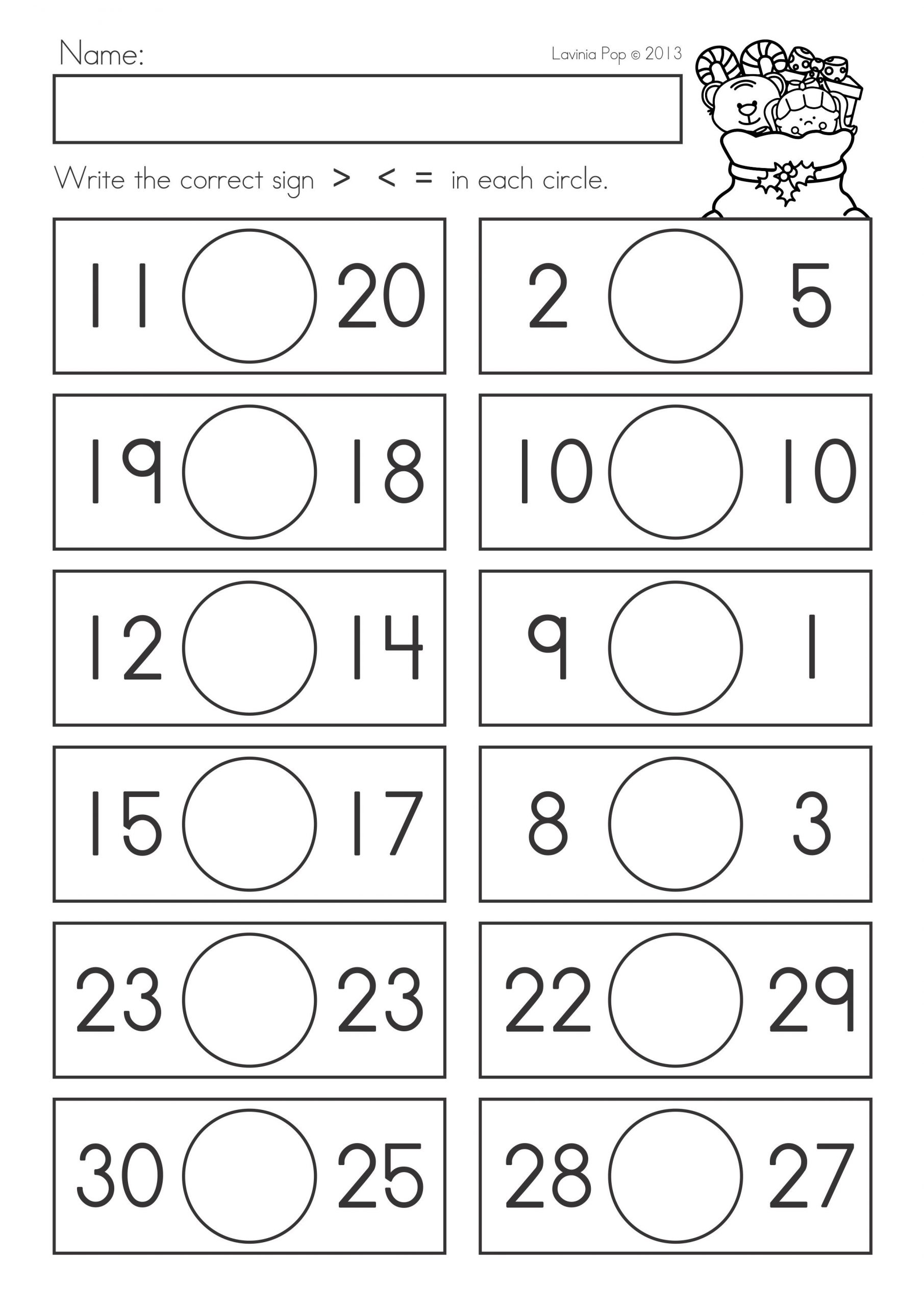 Comparing Numbers Worksheets 2nd Grade Paring Numbers Worksheets to Print Paring Numbers