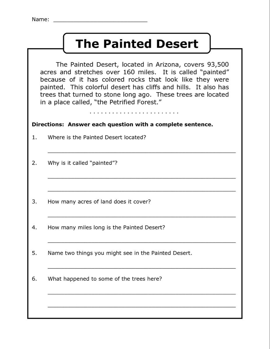 Complete Sentence Worksheets 4th Grade 4th Grade Reading Prehension Worksheets Best Coloring