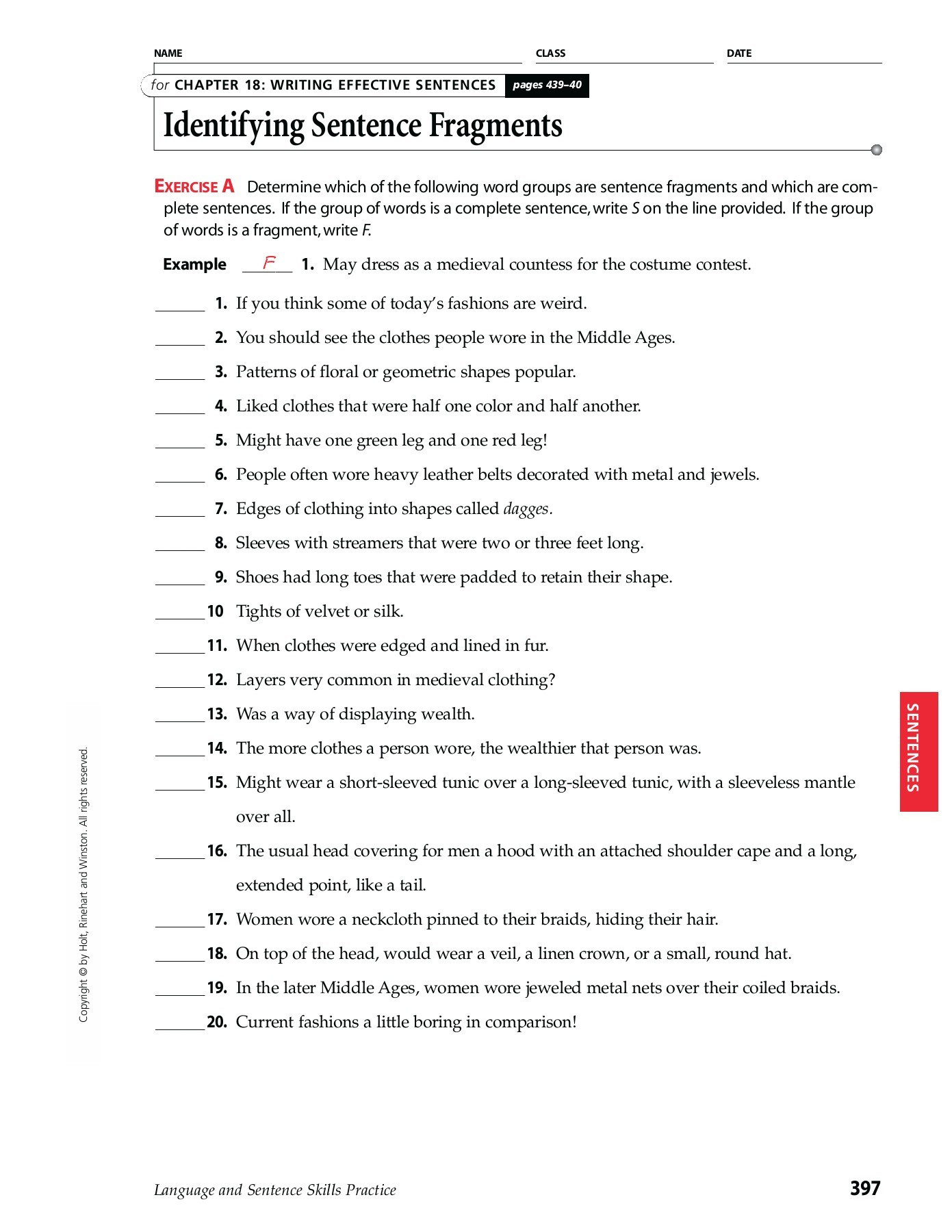 Complete Sentence Worksheets 4th Grade Chapter 18 Writing Effective Sentences Identifying