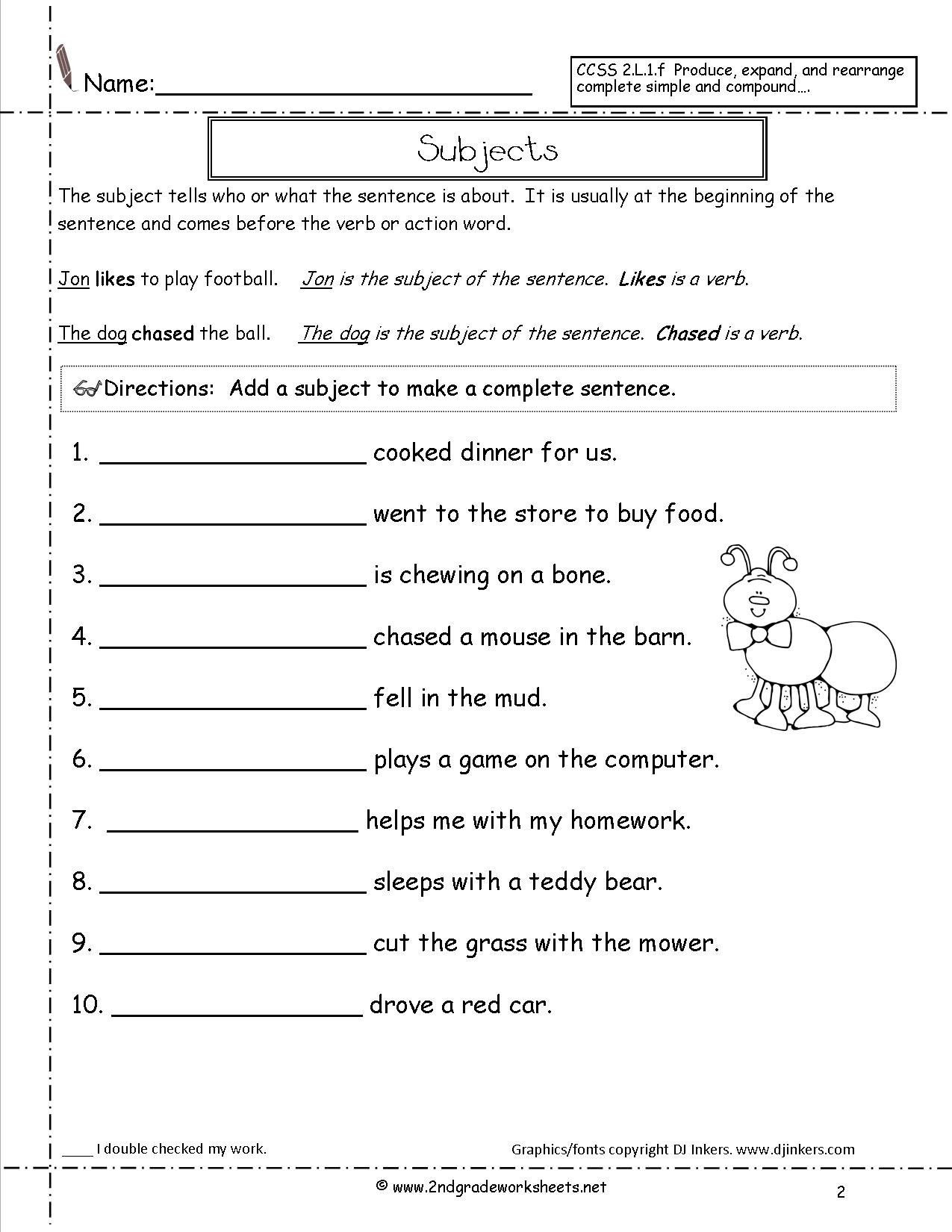 Complete Sentences Worksheet 1st Grade Sentence Worksheets for First Grade Second Grade Sentences