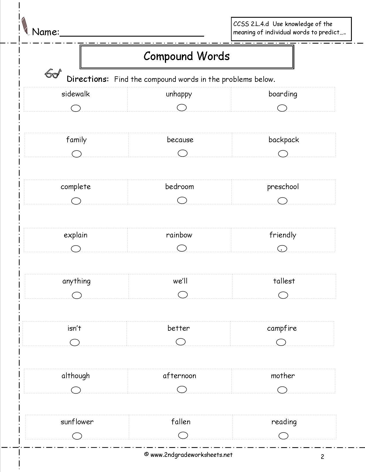 Compound Word Worksheet 2nd Grade Printable Grid Paper A4 Grammar Double Negatives Worksheets
