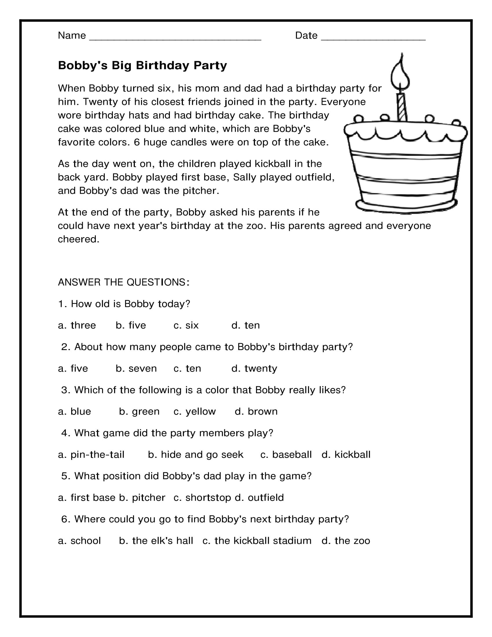 Comprehension Worksheet First Grade Math Worksheet 1st Grade Prehension Worksheets Free