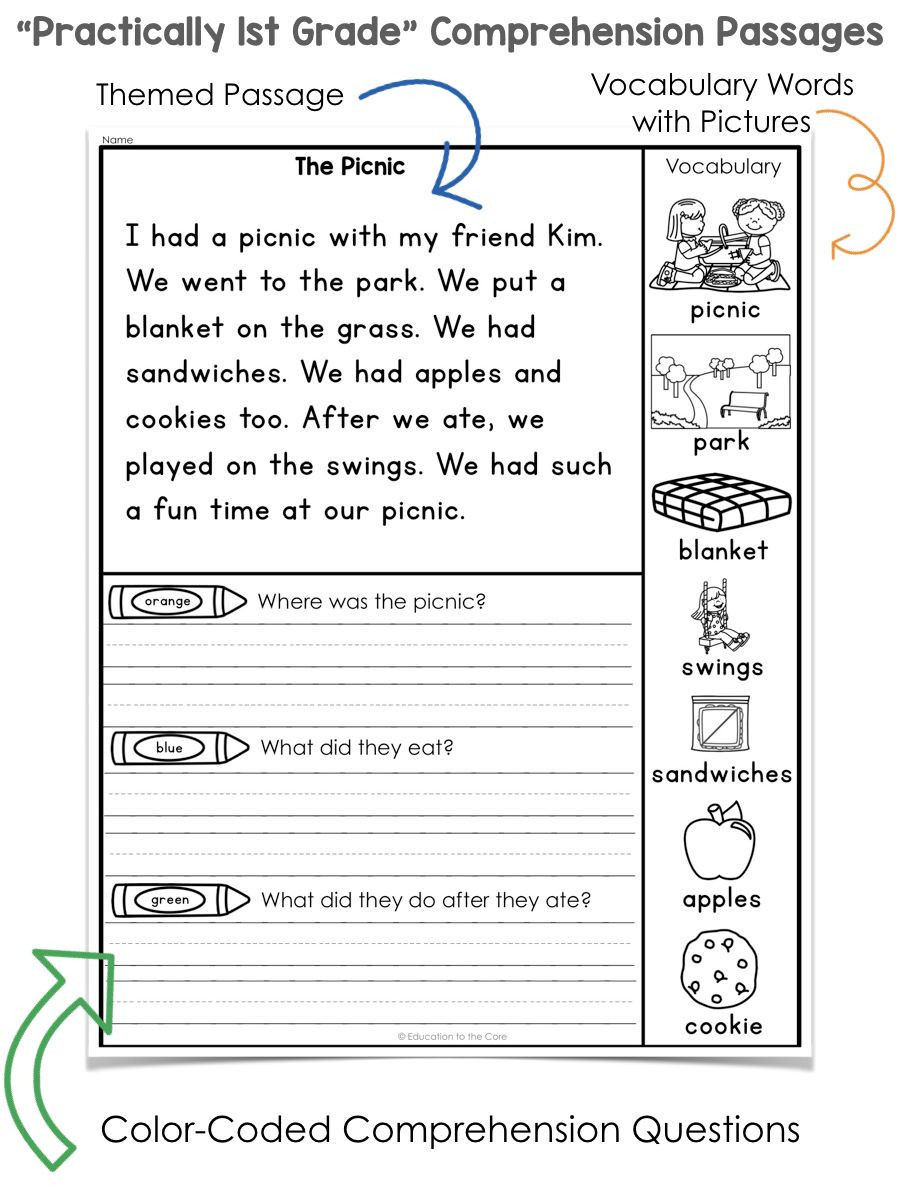 Comprehension Worksheet First Grade Math Worksheet Reading Prehension First Grade