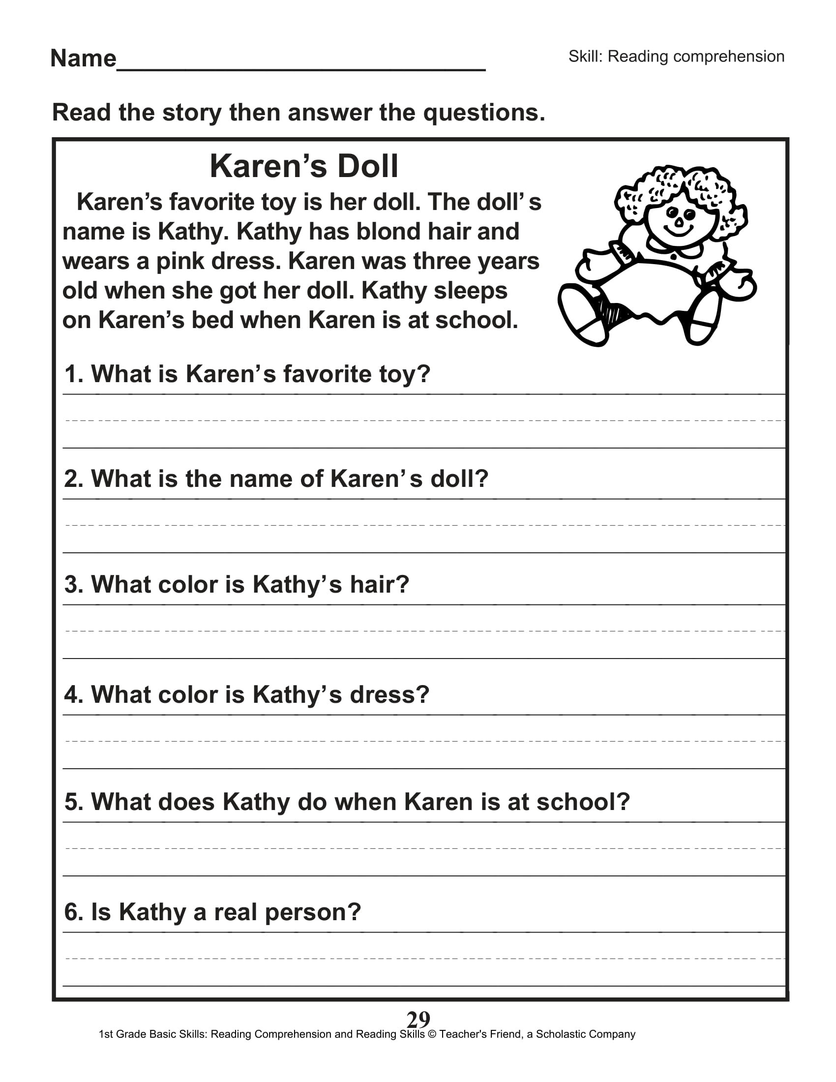 Comprehension Worksheet First Grade Math Worksheet Reading Worksheets First Grade 1st Puppies