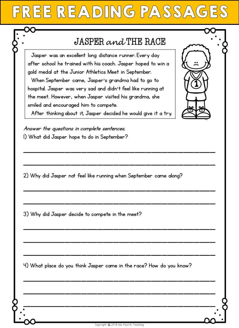 Comprehension Worksheet First Grade Worksheet 1st Grade Reading Prehension Questions Free