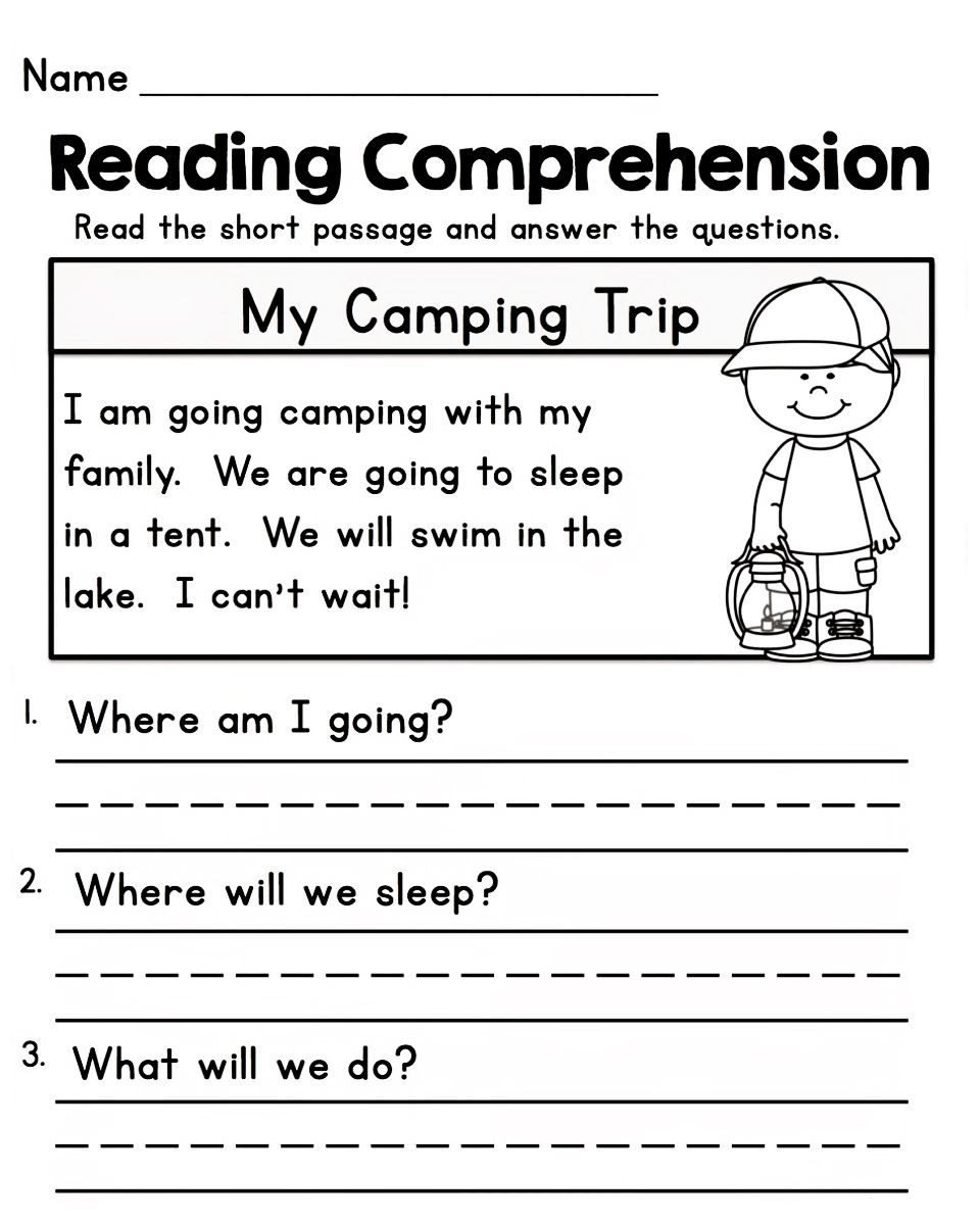 Comprehension Worksheet First Grade Worksheets for 1st Grade In 2020