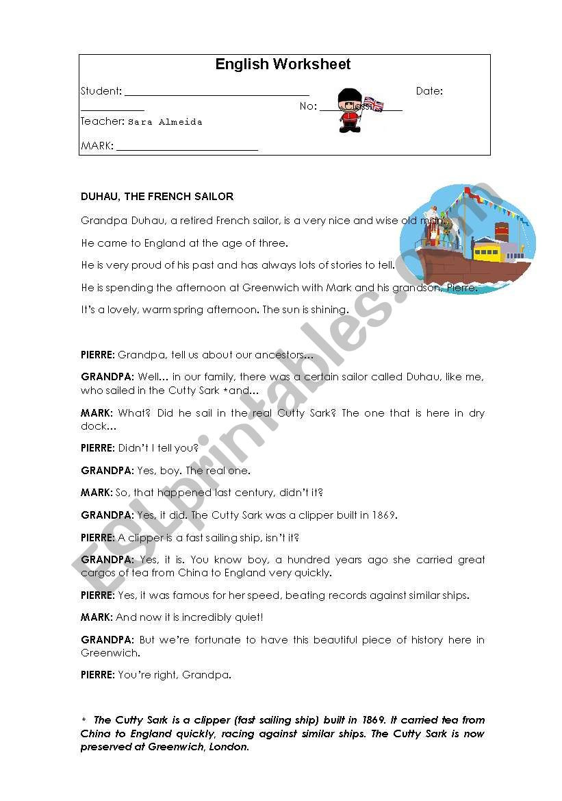 Comprehension Worksheets 6th Grade Reading Prehension 6th Grade Esl Worksheet by Sara Almeida