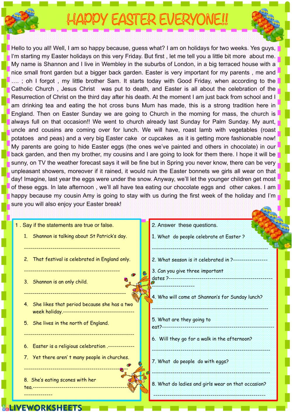 Comprehension Worksheets for Grade 6 Easter Reading Prehension Worksheet