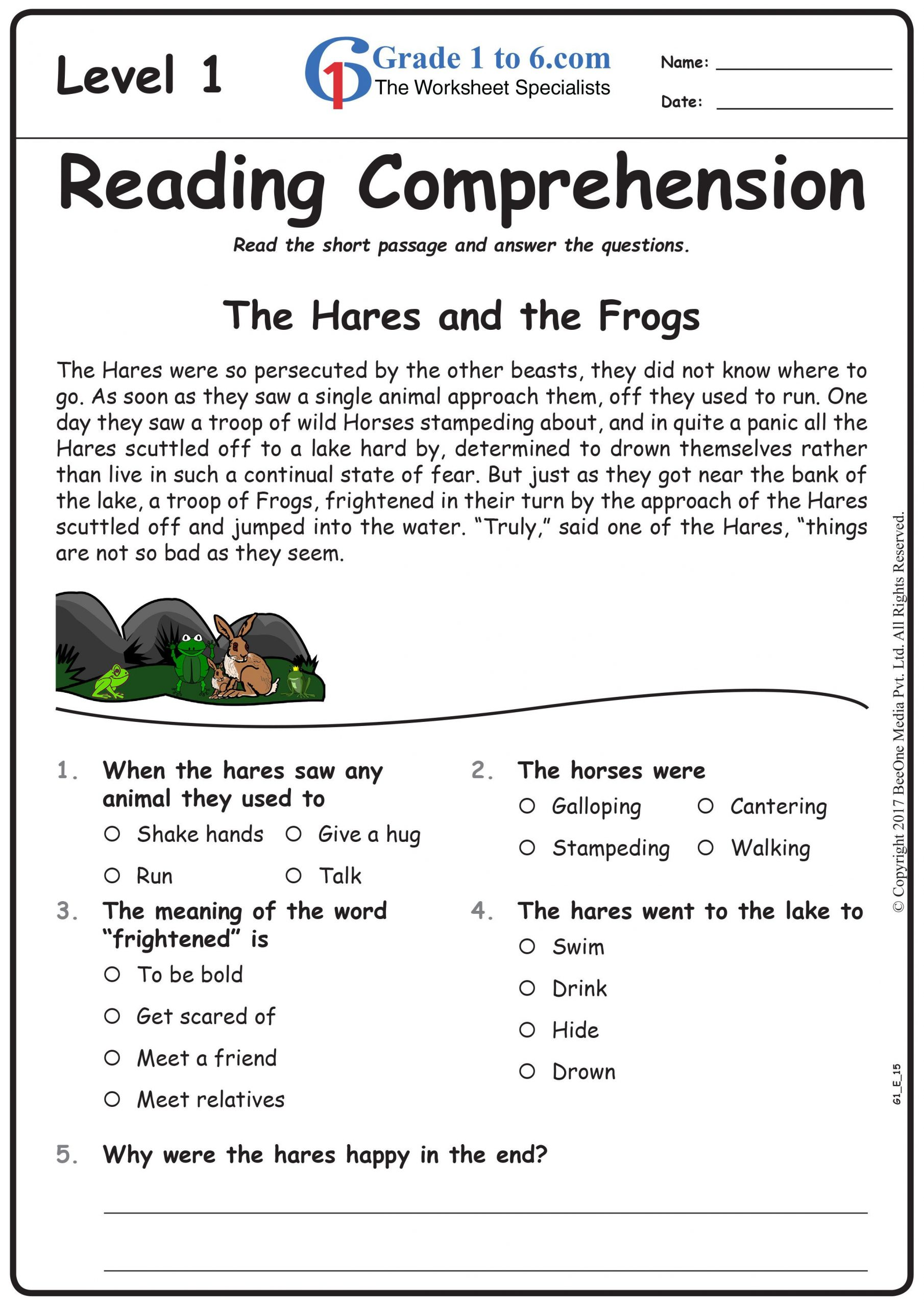 Comprehension Worksheets for Grade 6 Free Math Worksheets for Grade 1 Through Grade 6 Subscribe