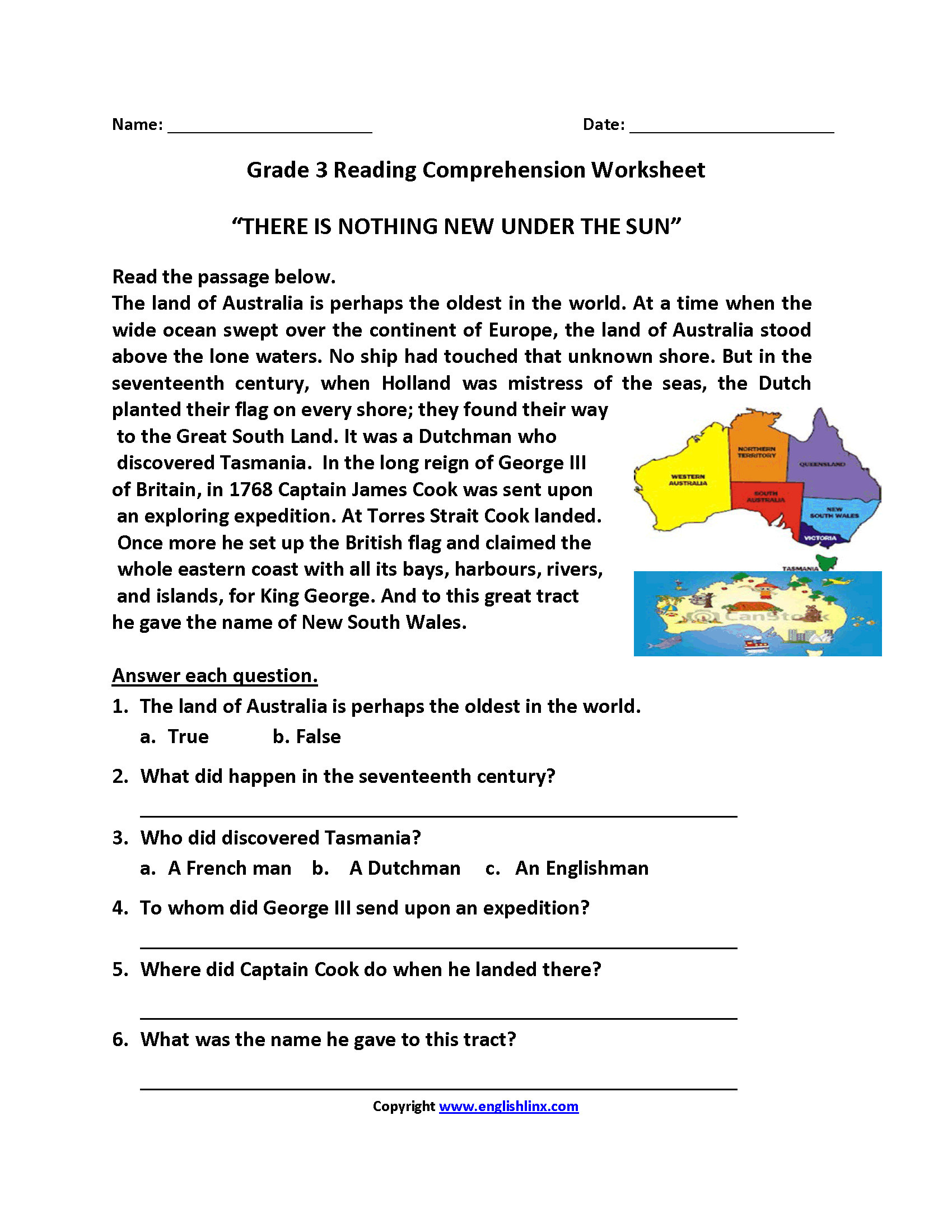 Comprehension Worksheets for Grade 6 Math Worksheet Third Grade Reading Prehension