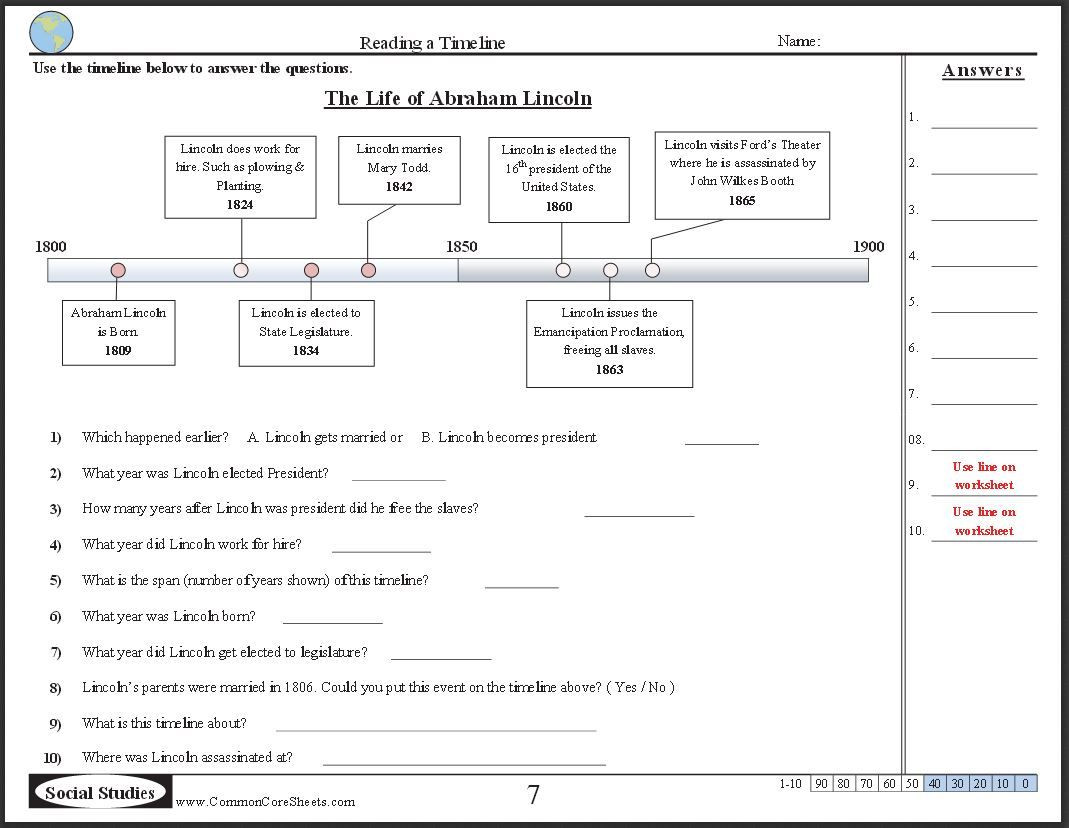 Computer Worksheets for Middle School Free Timeline Worksheets Check Out these 10 Free Ccss