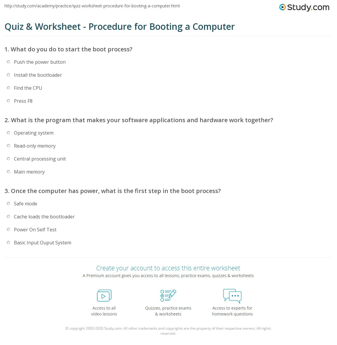 Computer Worksheets for Middle School Quiz & Worksheet Procedure for Booting A Puter