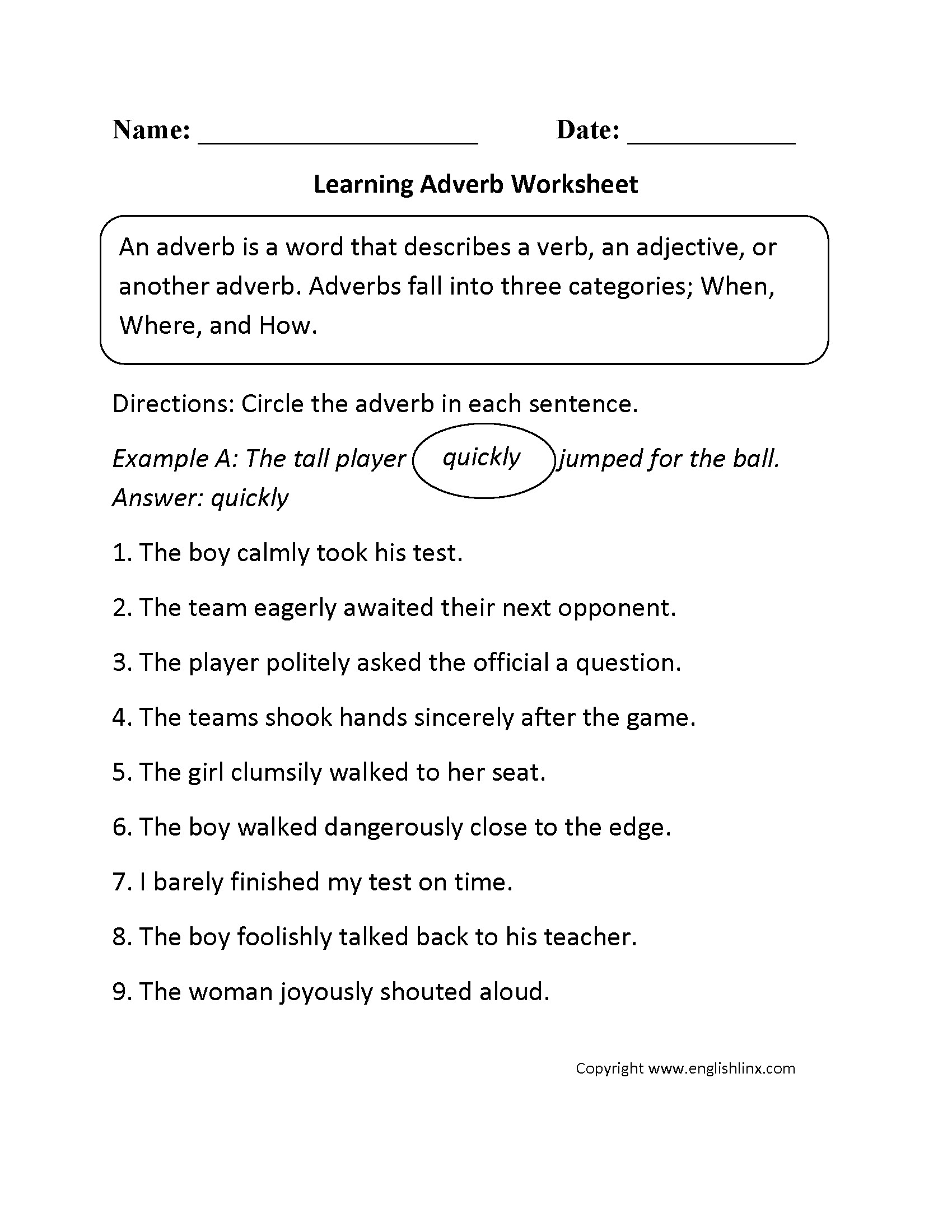 Conjunction Worksheet 3rd Grade Best Parts Speech Worksheet