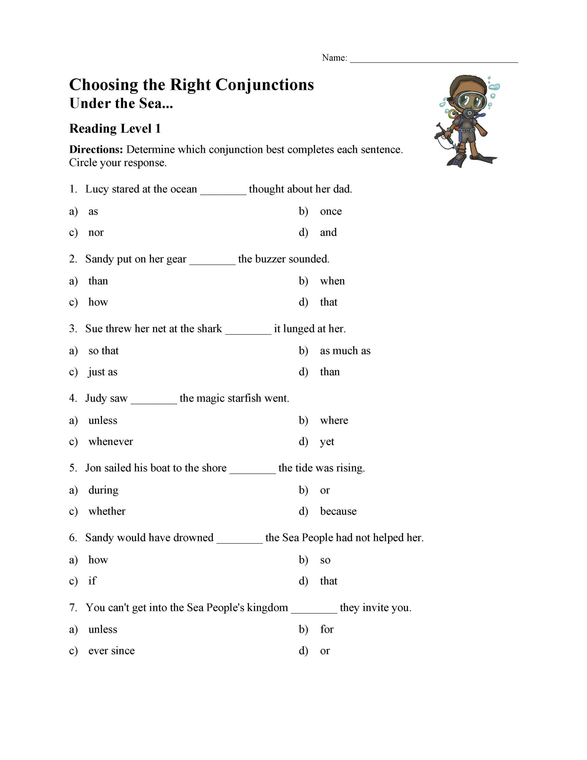 Conjunction Worksheet 3rd Grade Choosing the Right Conjunction Worksheet Reading Level 1