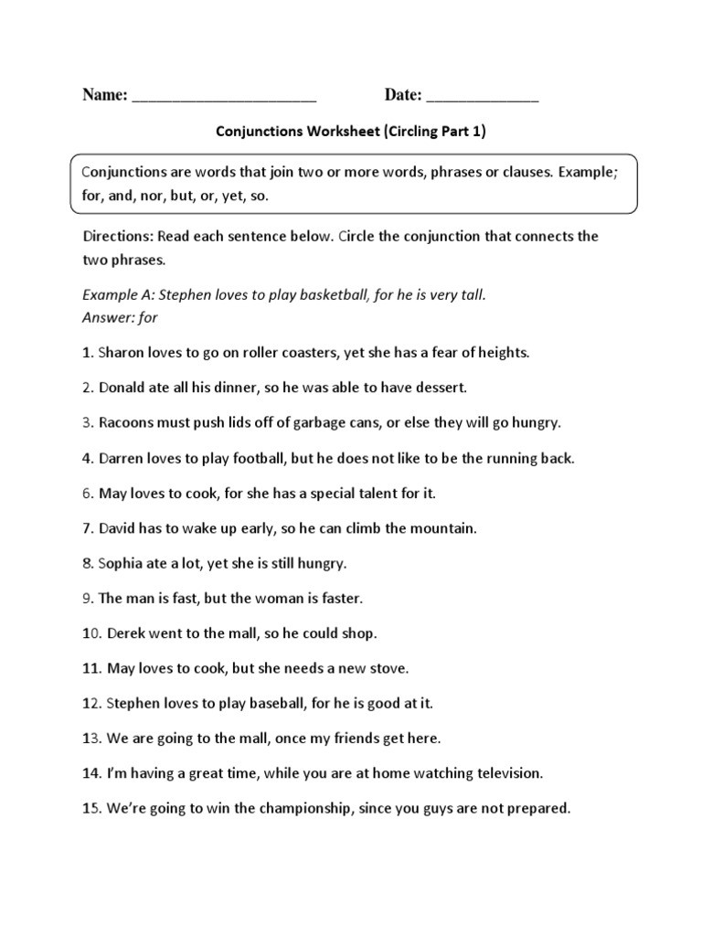 Conjunction Worksheet 3rd Grade Conjunctions Circling P 1 Intermediate
