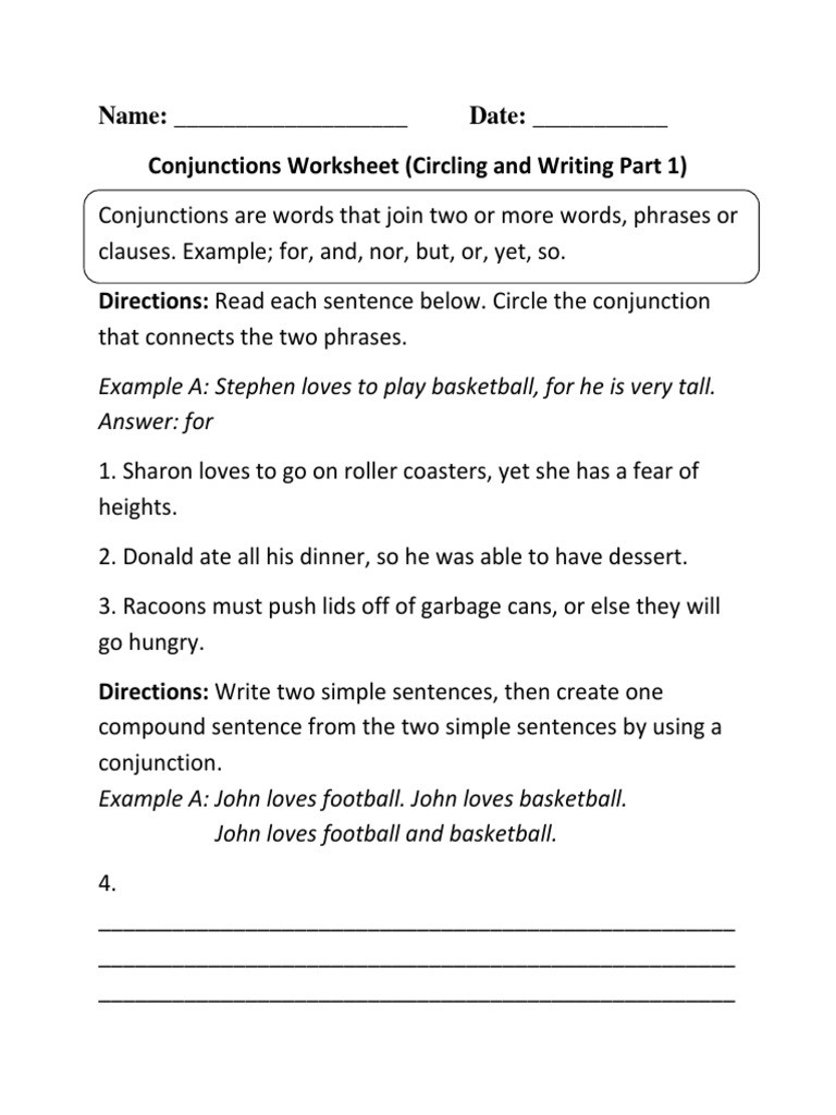 Conjunction Worksheet 3rd Grade Conjunctions Circling Writing P 1 Beginner