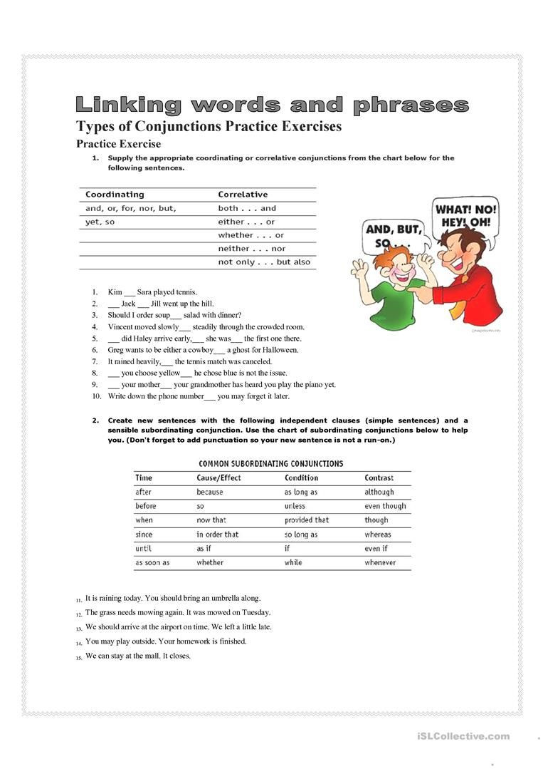 Conjunction Worksheet 5th Grade 7 Best Conjunctions Worksheets Images On Best Worksheets