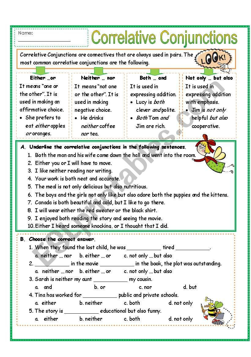 Conjunction Worksheet 5th Grade Correlative Conjunctions Lessons Tes Teach