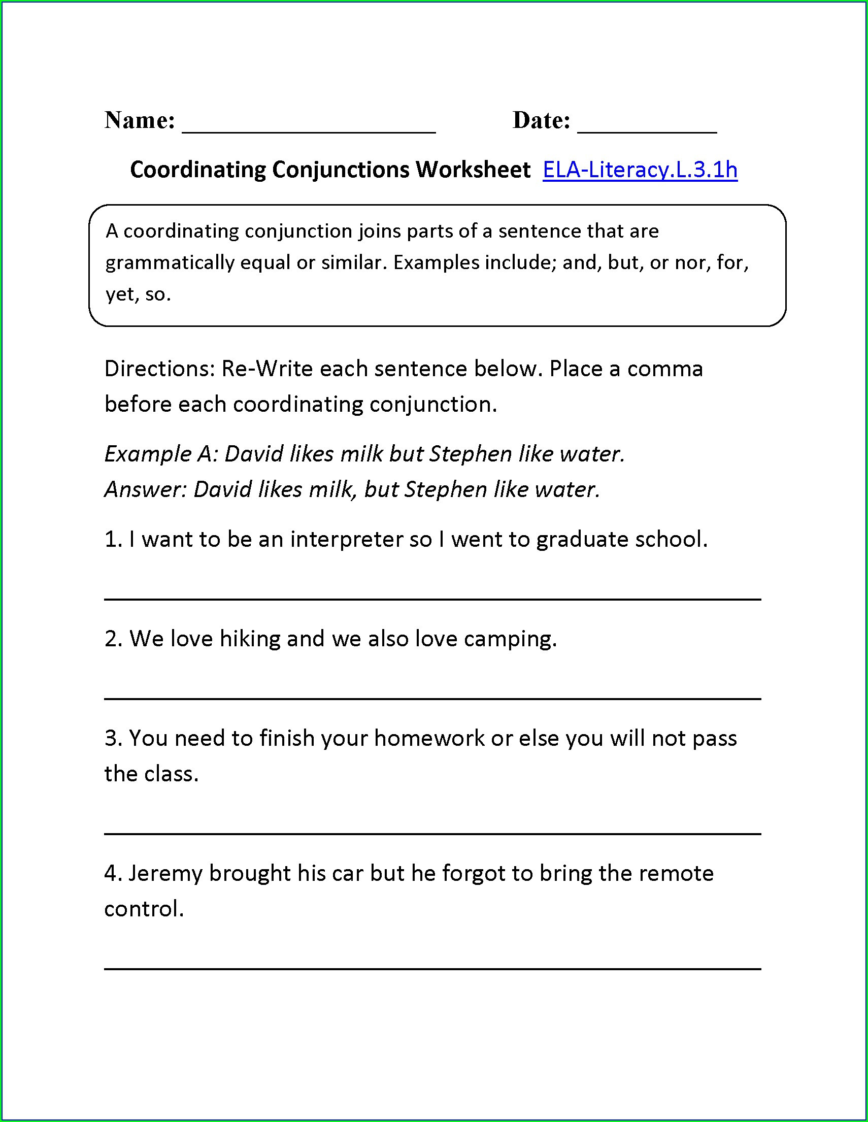 Conjunction Worksheets 6th Grade Conjunction Worksheet 8th Grade