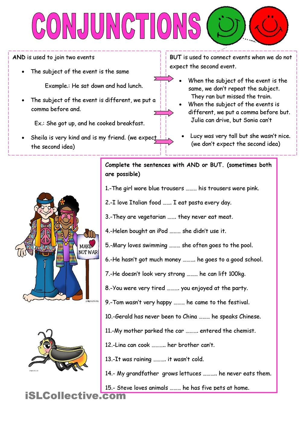 Conjunction Worksheets 6th Grade Conjunctions and but
