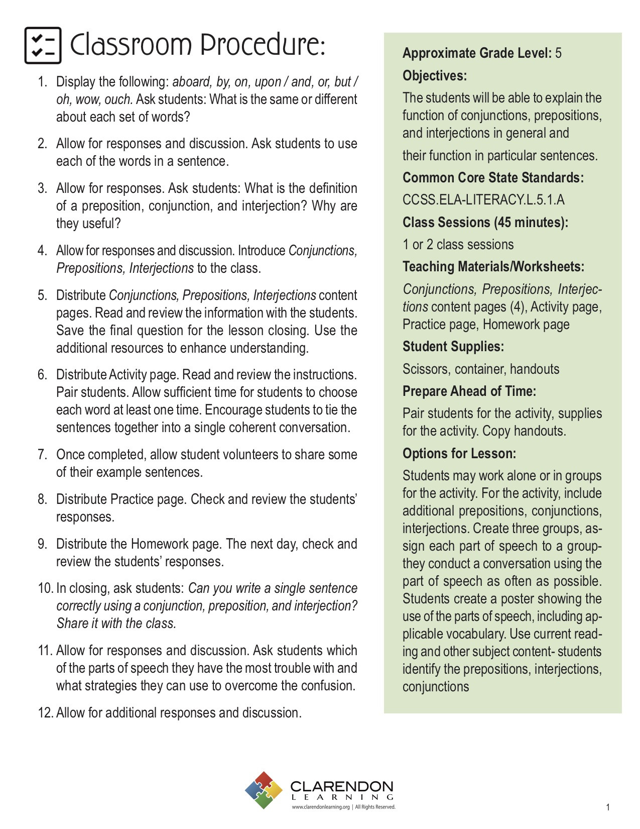 Conjunctions Worksheet 5th Grade Conjunctions Prepositions Interjections Lesson Plan