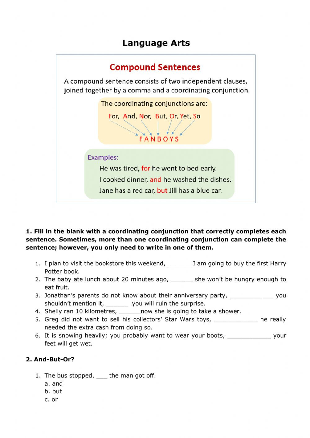 Conjunctions Worksheet 5th Grade Pound Sentences Interactive Worksheet