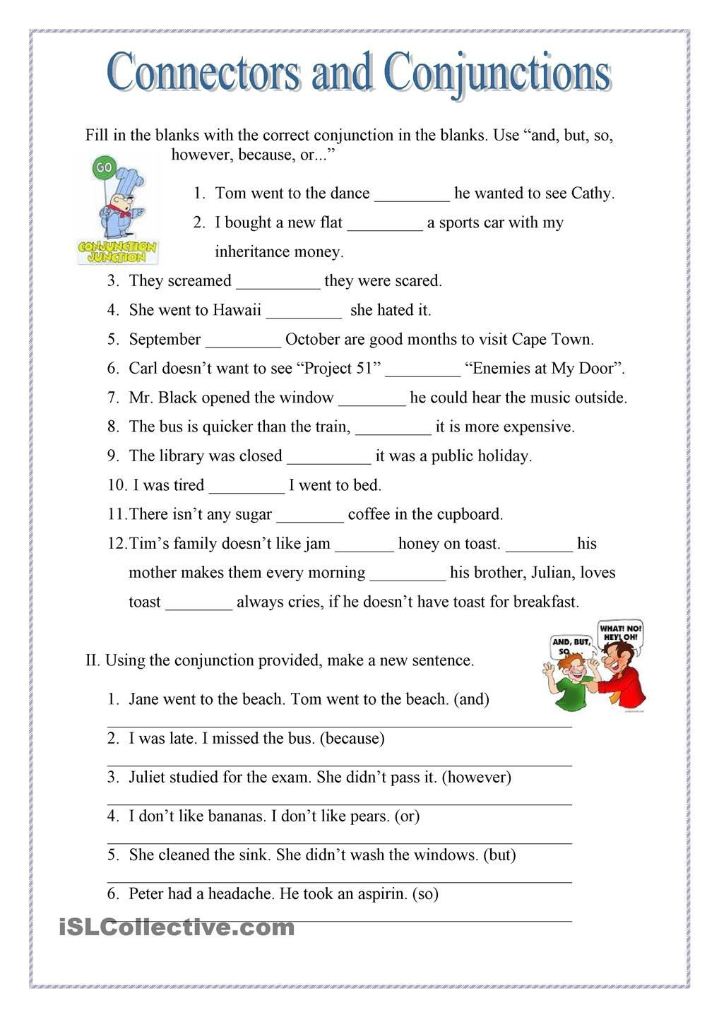 Conjunctions Worksheets 5th Grade Conjuctions and Connectors