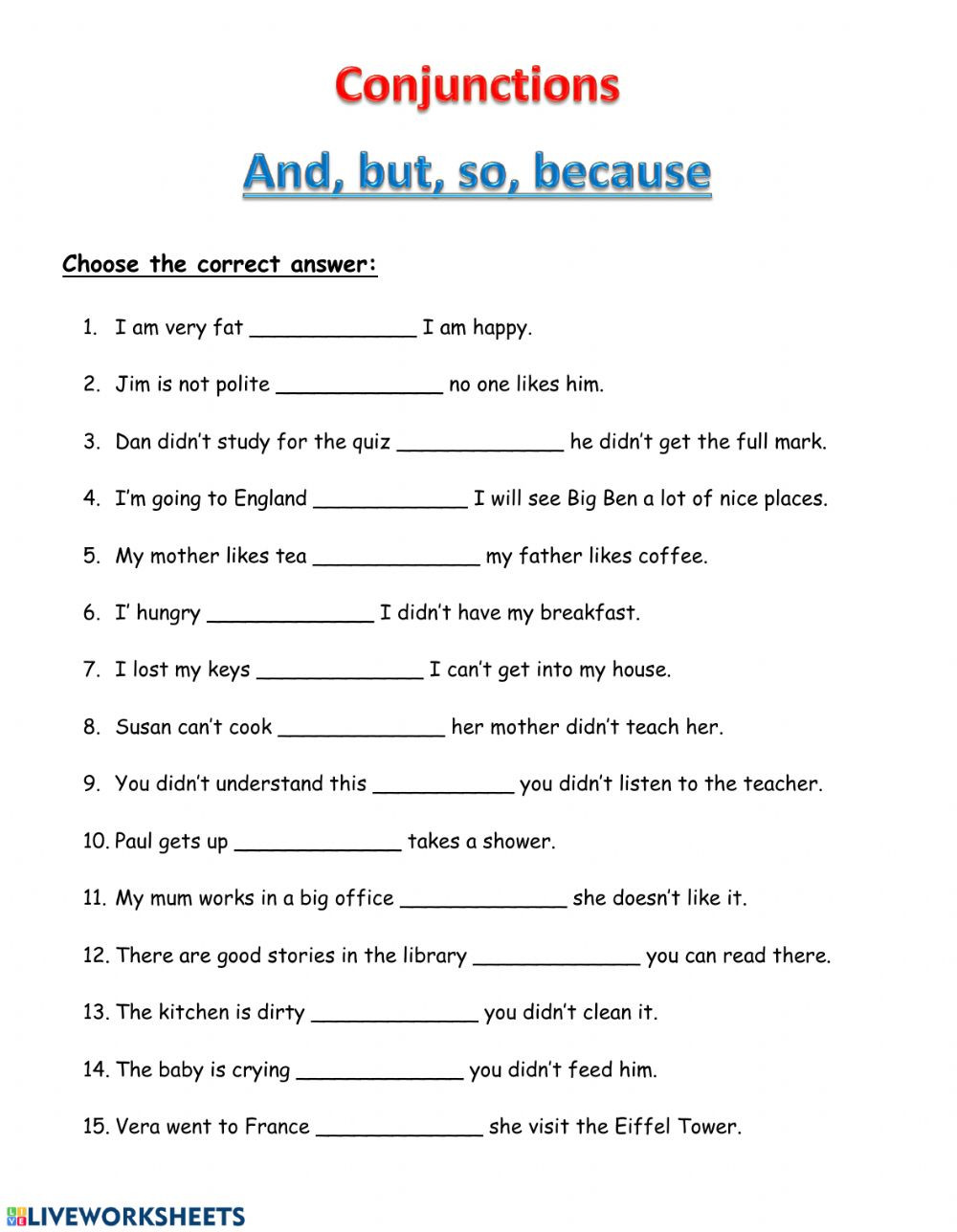 Conjunctions Worksheets for Grade 3 Conjunctions and but so because Interactive Worksheet