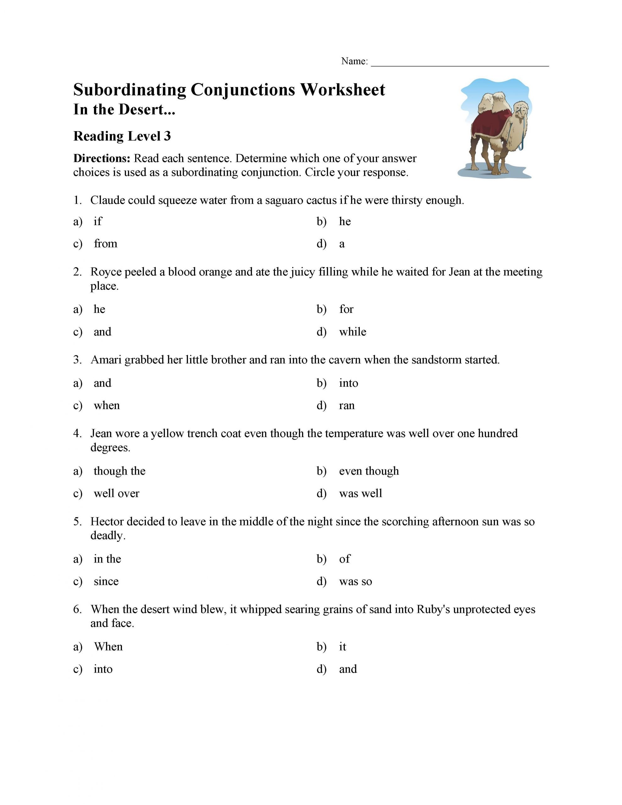 Subordinating Conjunctions Worksheet Reading Level 3
